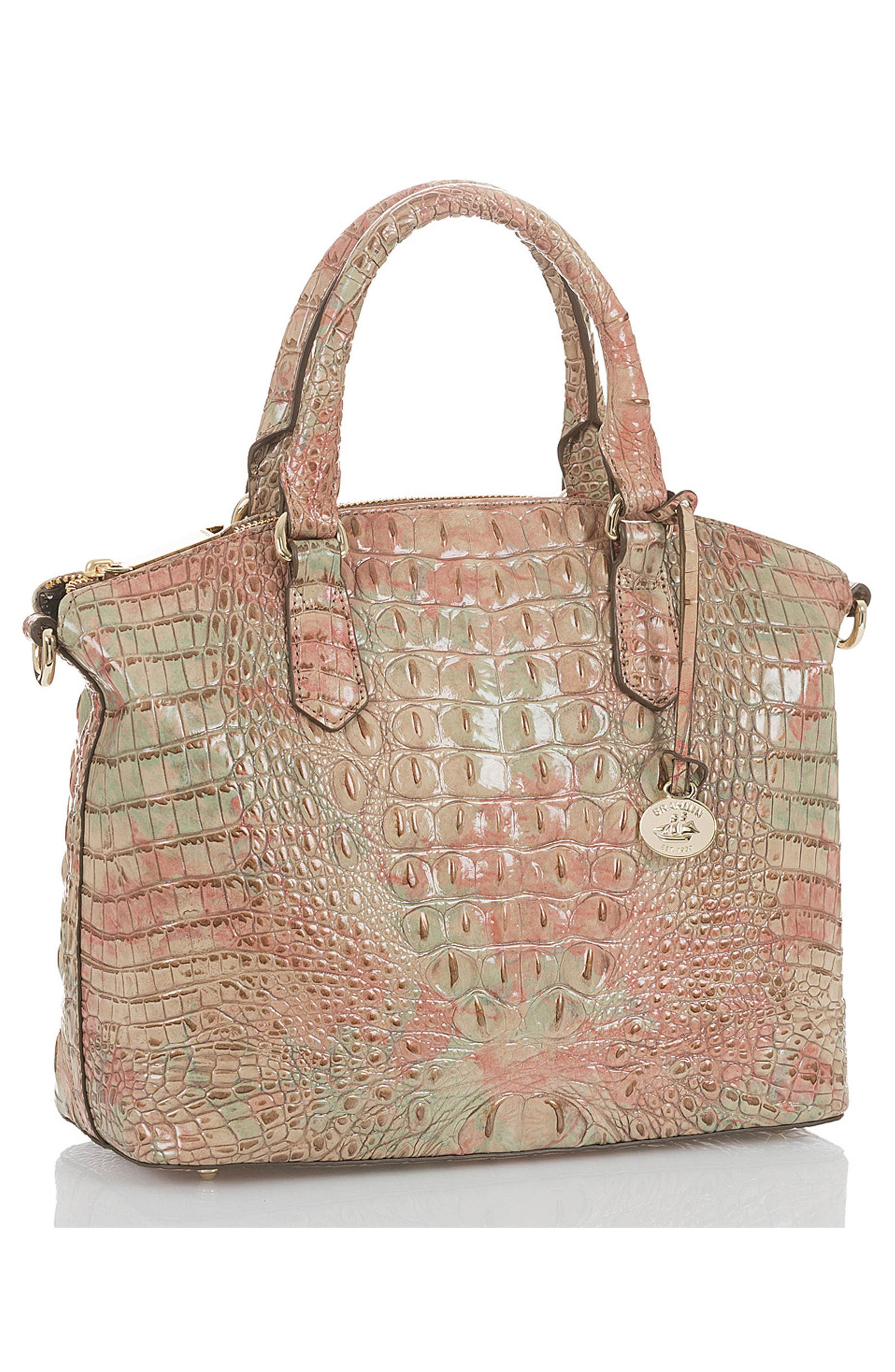 'Medium Duxbury' Croc Embossed Leather Satchel,                             Alternate thumbnail 4, color,                             Sahara