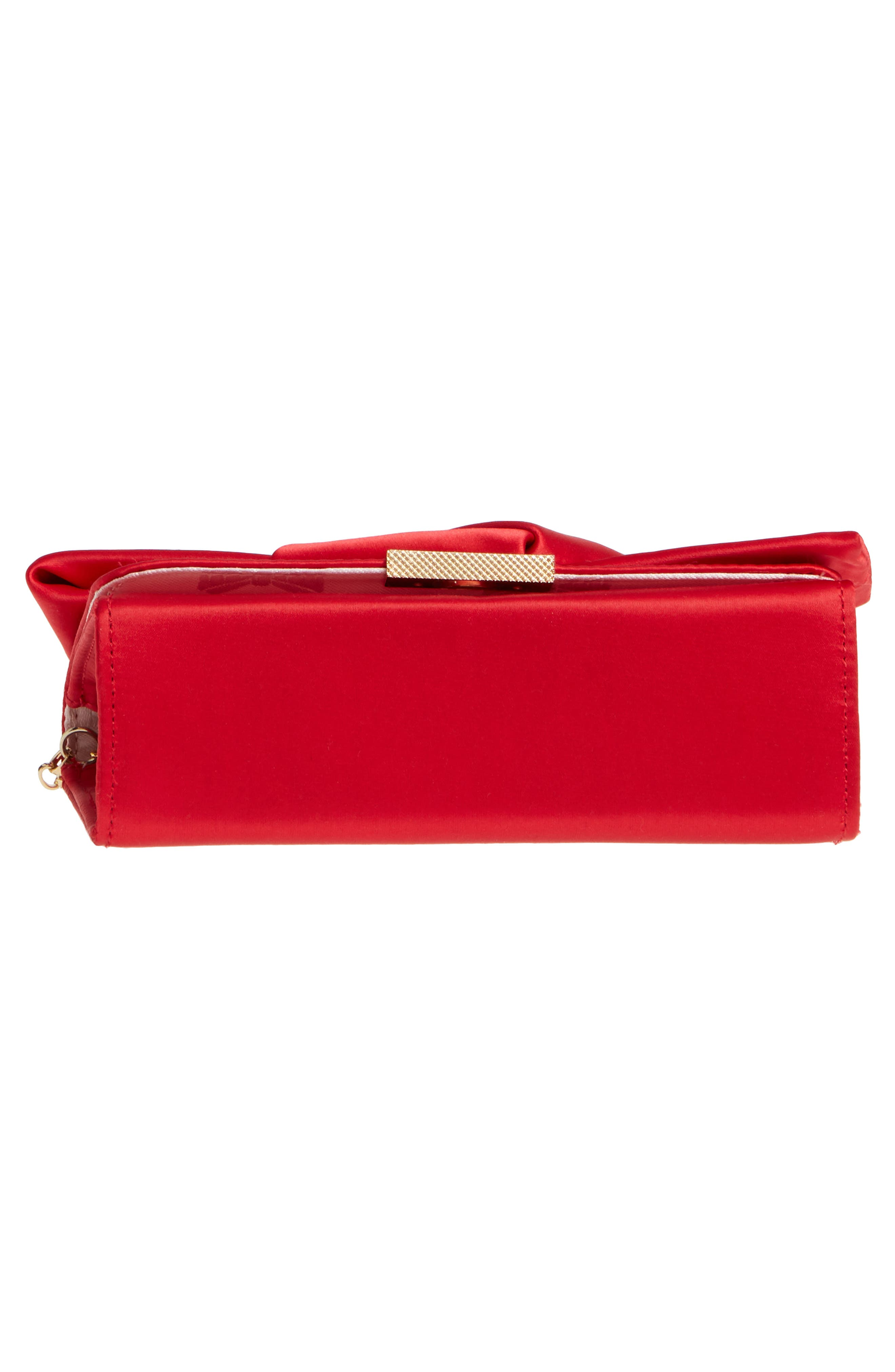 Fefee Satin Knotted Bow Clutch,                             Alternate thumbnail 6, color,                             Bright Red