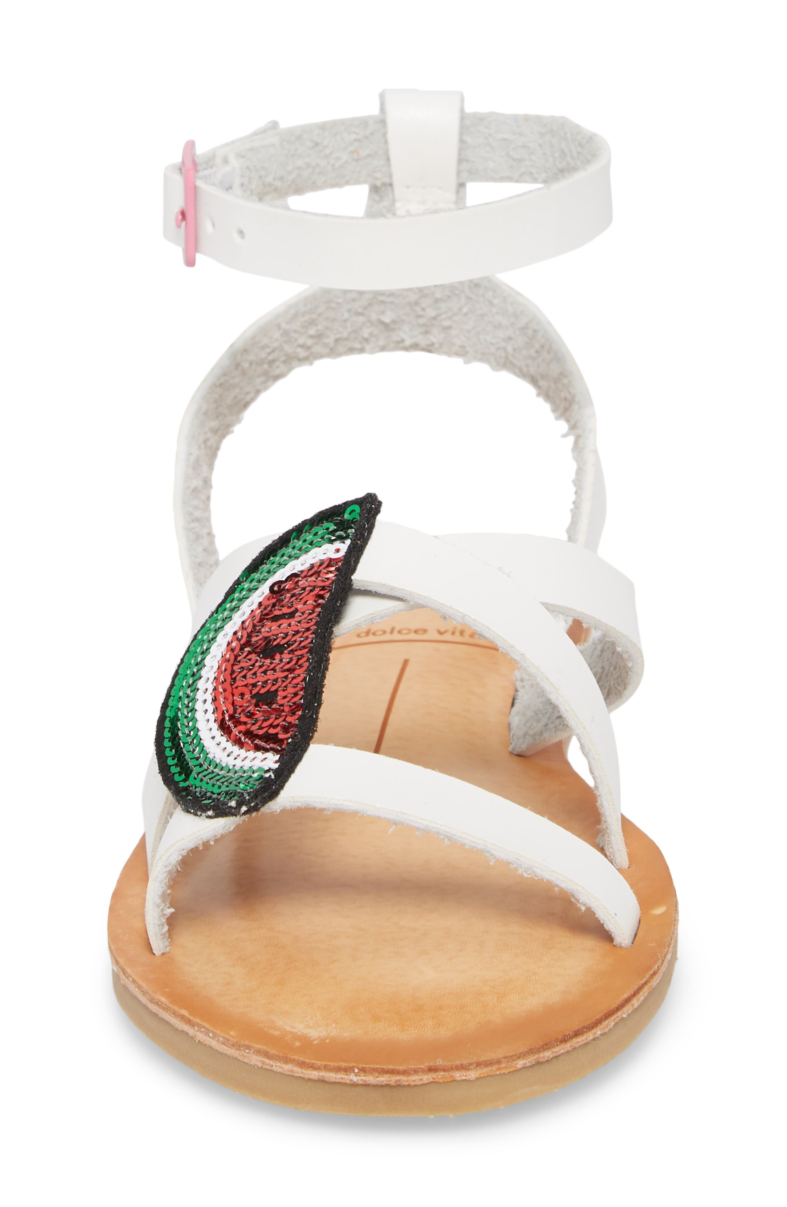 Jaclin Fruit Sequined Sandal,                             Alternate thumbnail 4, color,                             White