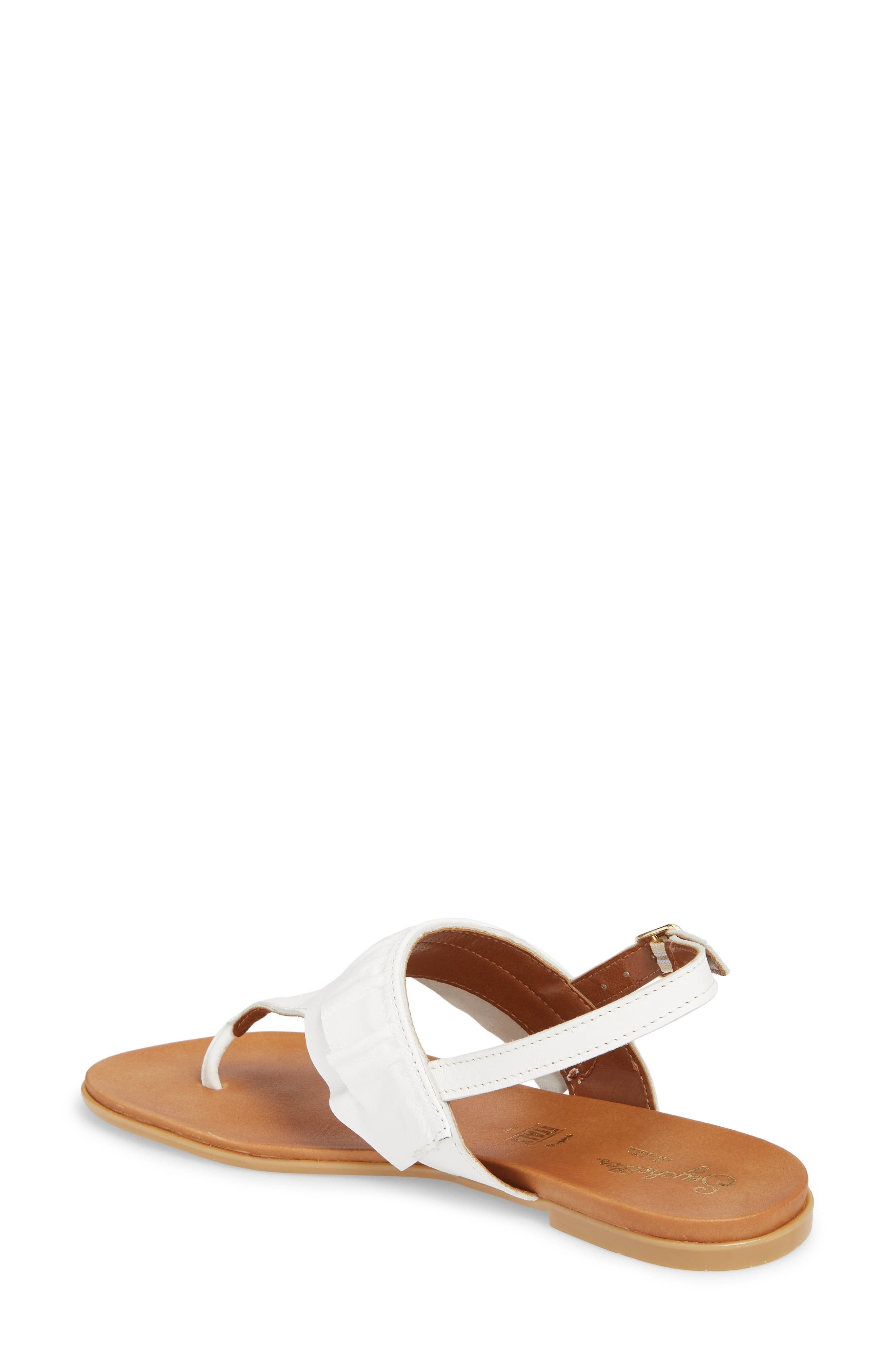 Seclusion Ruffle Sandal,                             Alternate thumbnail 2, color,                             White Leather