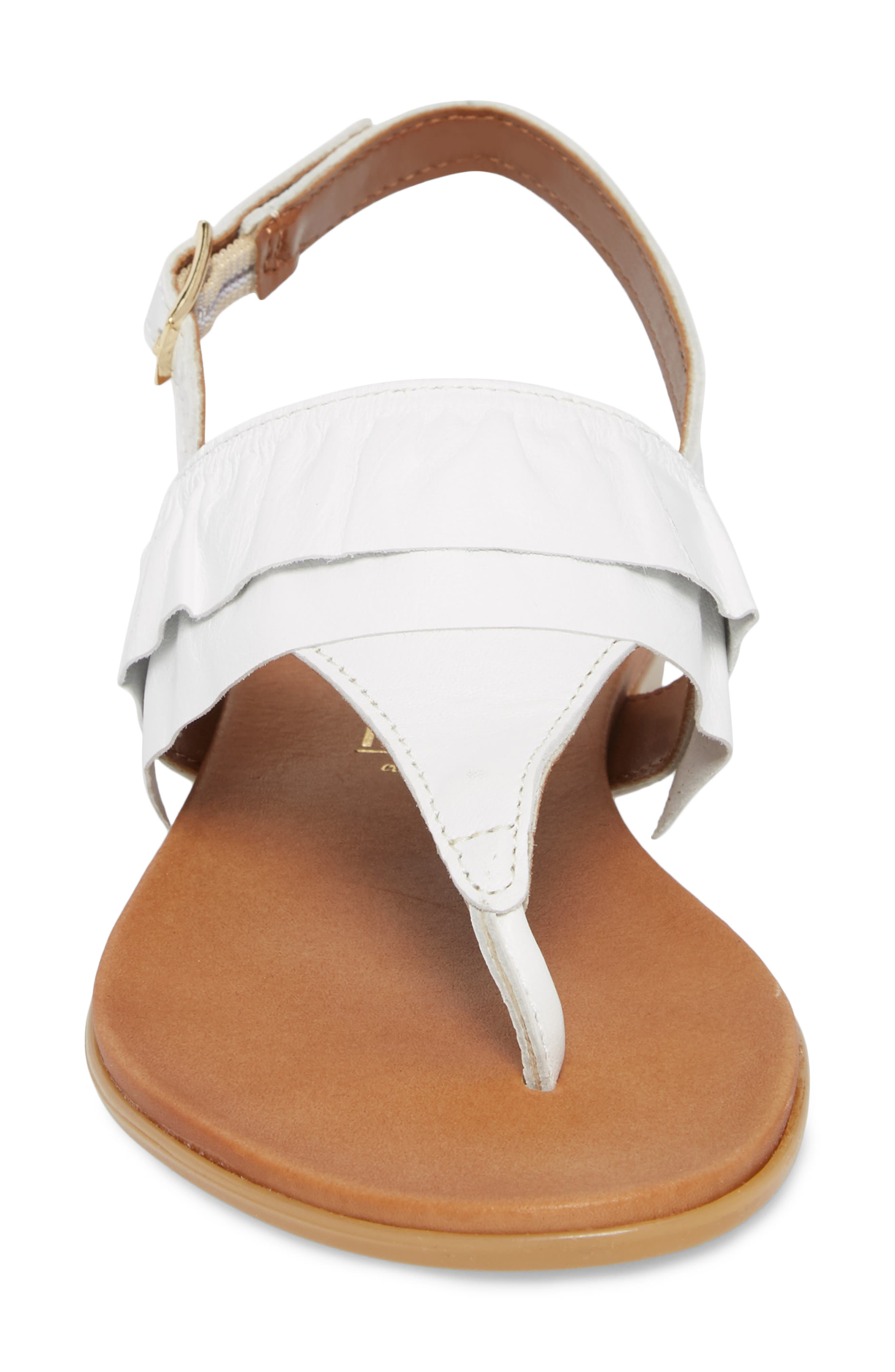 Seclusion Ruffle Sandal,                             Alternate thumbnail 4, color,                             White Leather