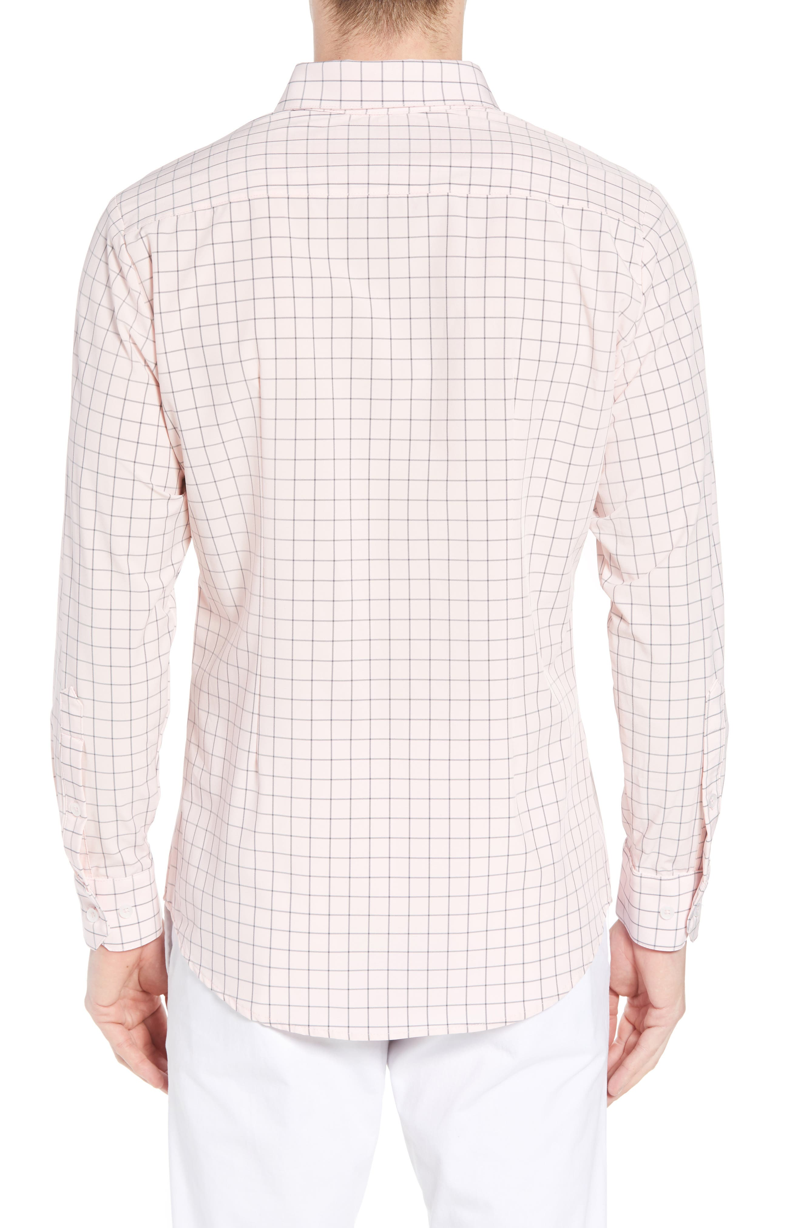Andrews Slim Fit Windowpane Performance Sport Shirt,                             Alternate thumbnail 3, color,                             Pink