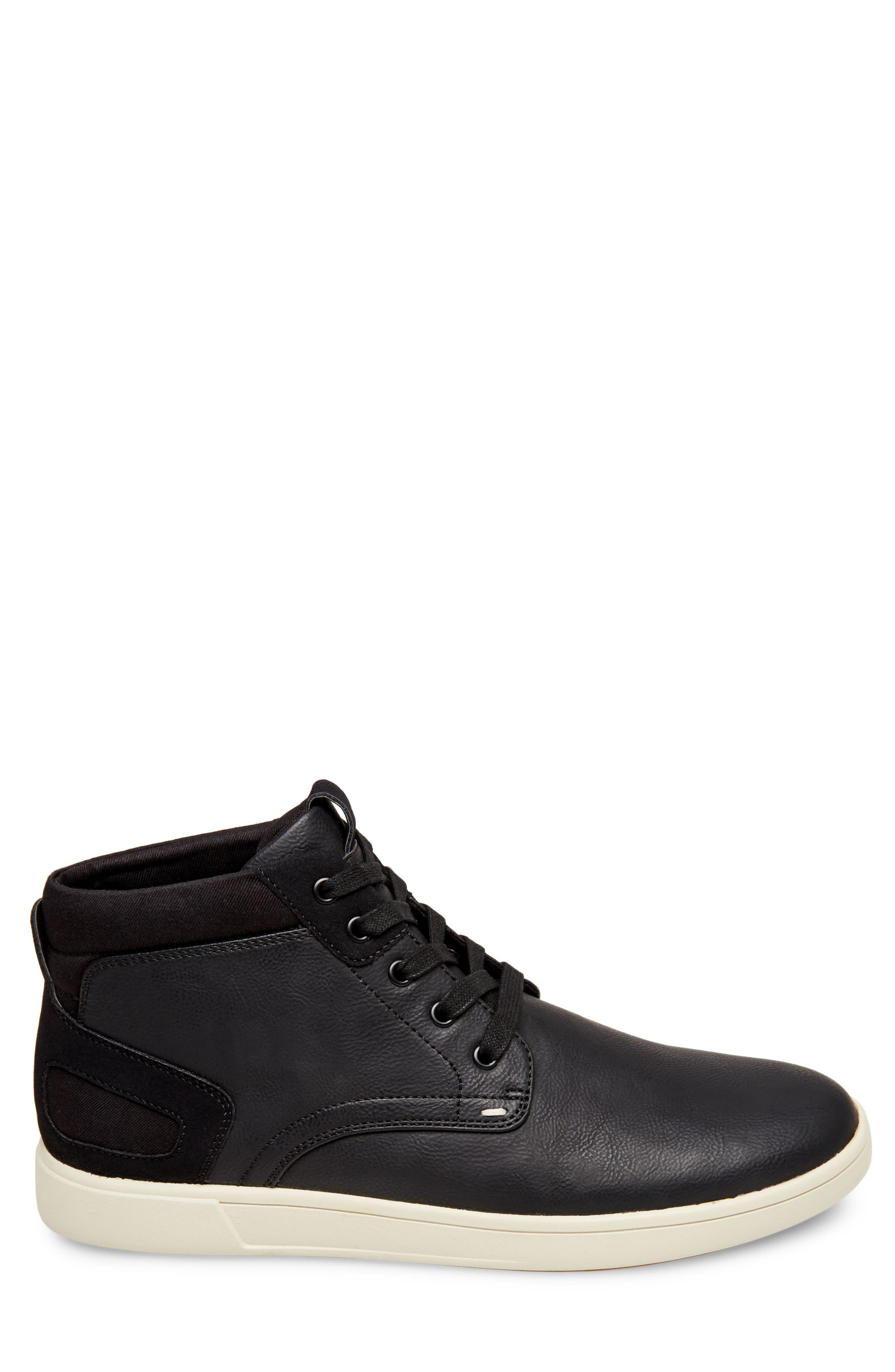 Forsyth High Top Sneaker,                             Alternate thumbnail 3, color,                             Black Leather