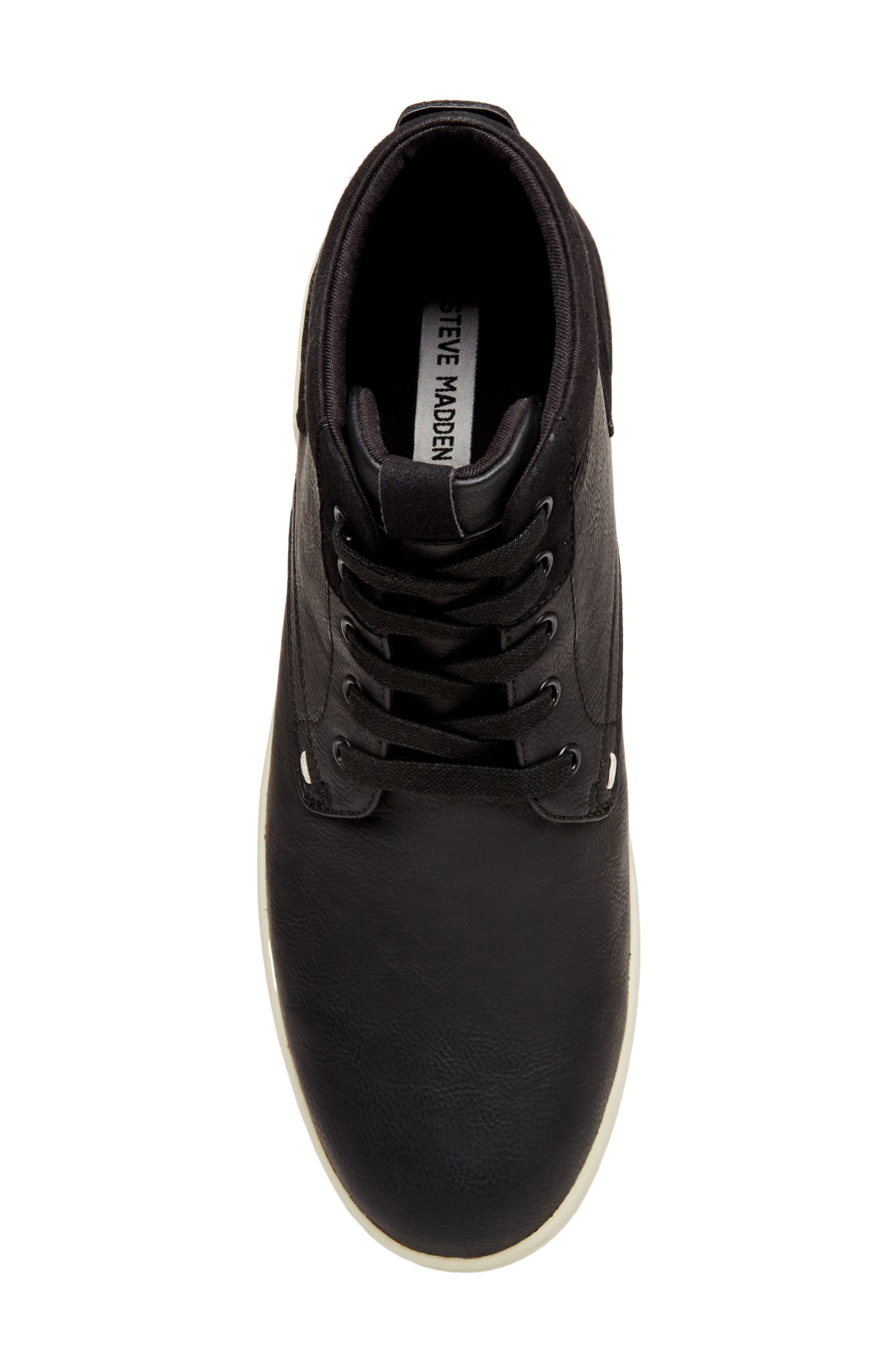 Forsyth High Top Sneaker,                             Alternate thumbnail 5, color,                             Black Leather