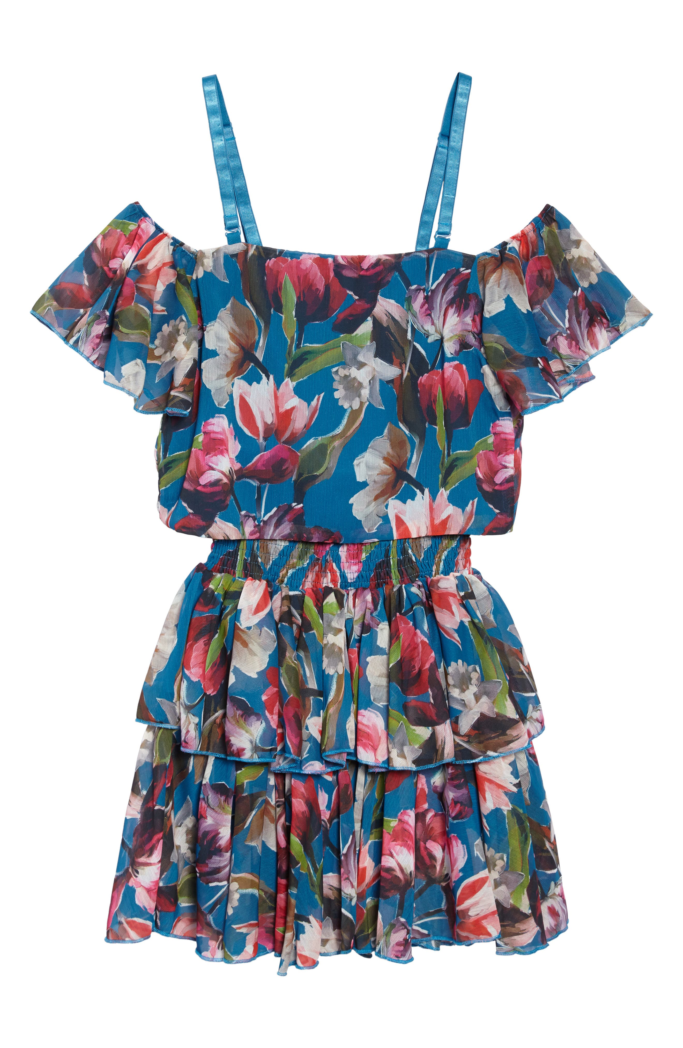 Josephine Two-Piece Ruffle Dress,                             Main thumbnail 1, color,                             Teal