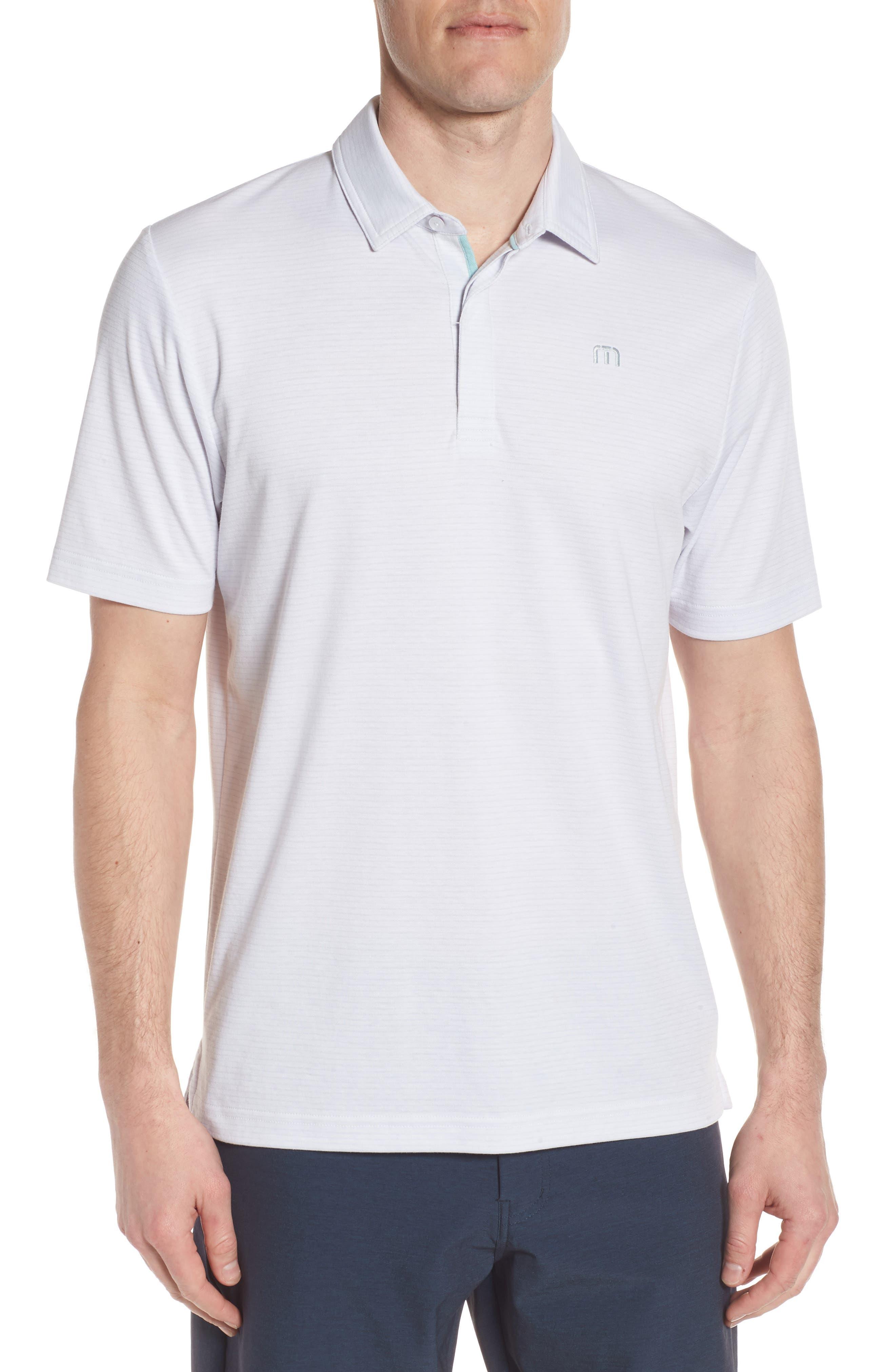 Reece Pinstripe Polo,                         Main,                         color, White/ Micro Chip