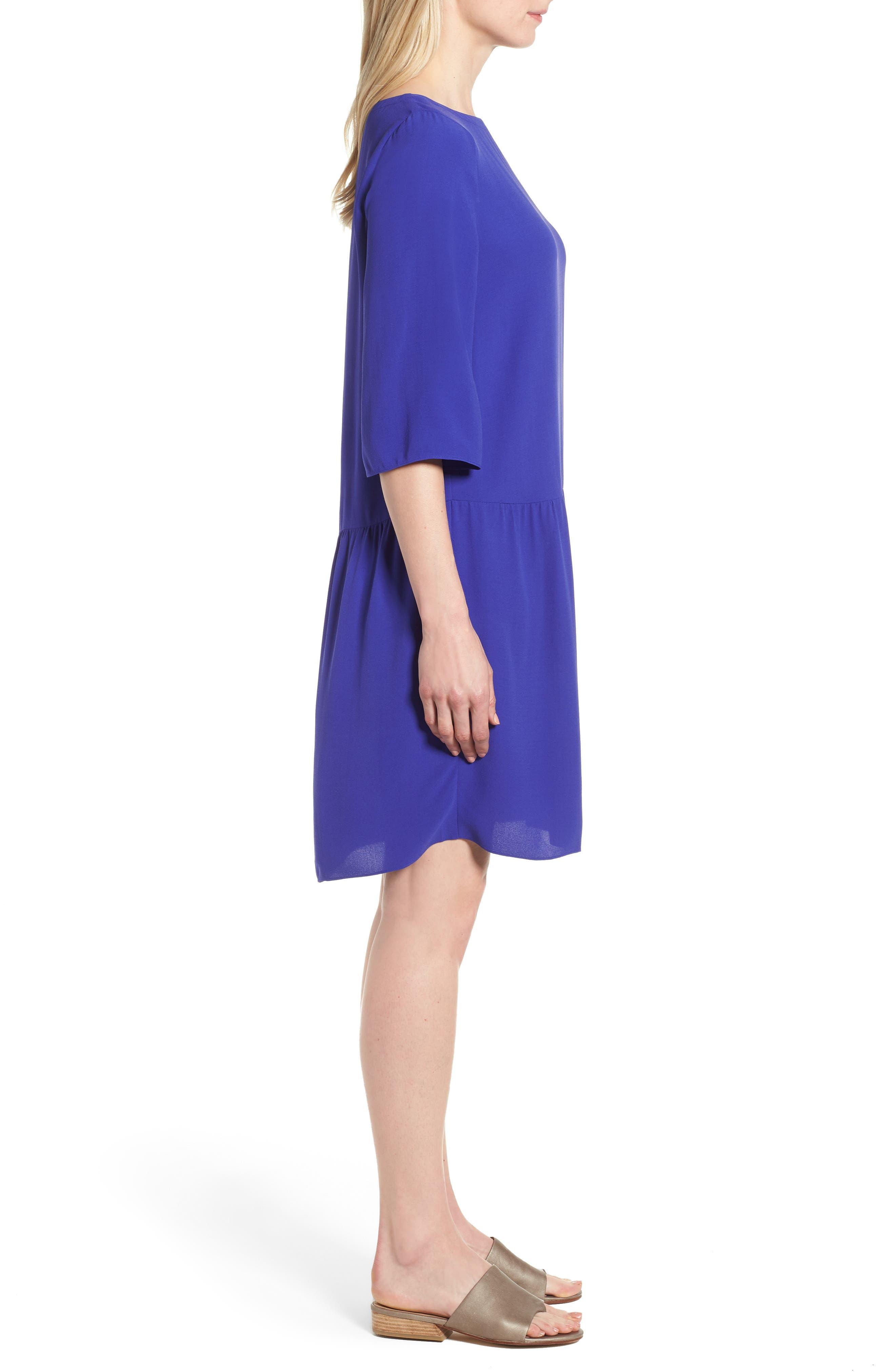 Drop Waist Silk Dress,                             Alternate thumbnail 3, color,                             Blue Violet