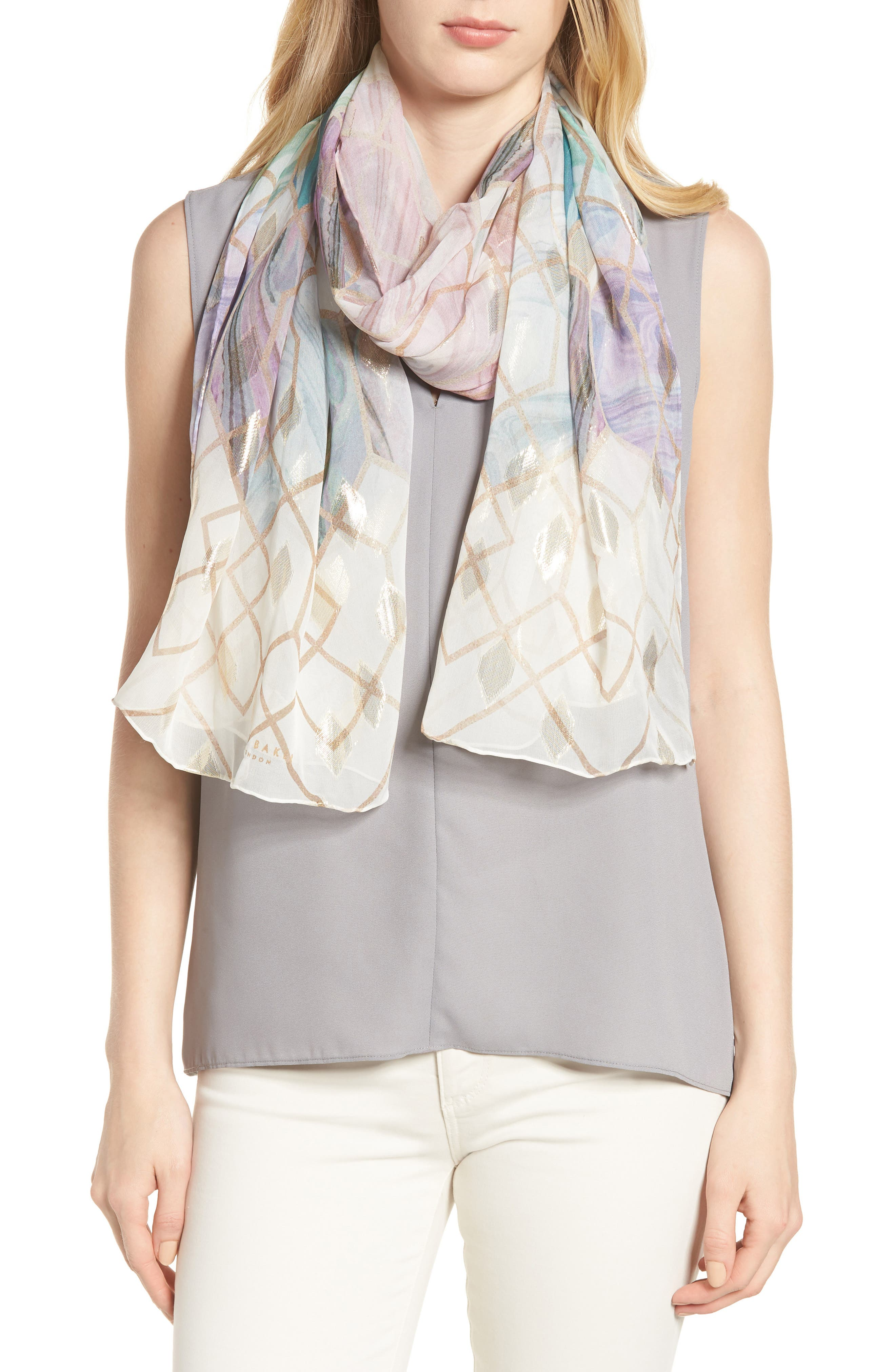 Alieee- Sea Of Clouds Long Silk Scarf,                         Main,                         color, White