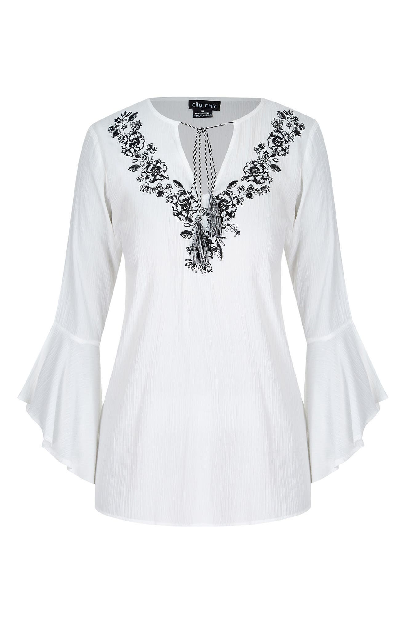 Lover Embroidered Tunic,                             Alternate thumbnail 3, color,                             Ivory