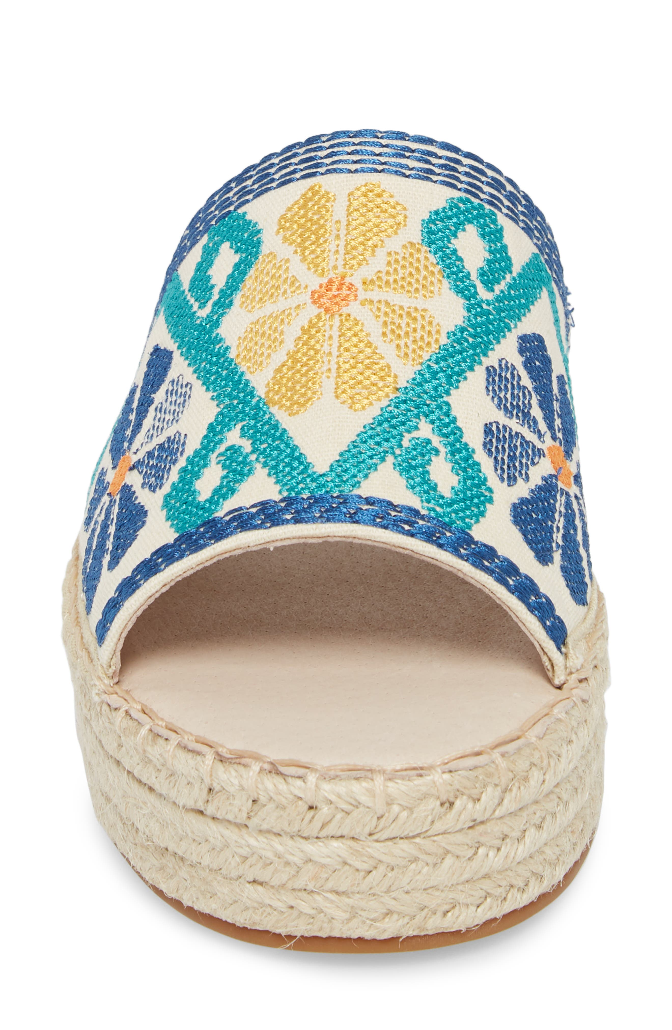 Cammy Platform Slide Sandal,                             Alternate thumbnail 4, color,                             Natural Embroidery Fabric