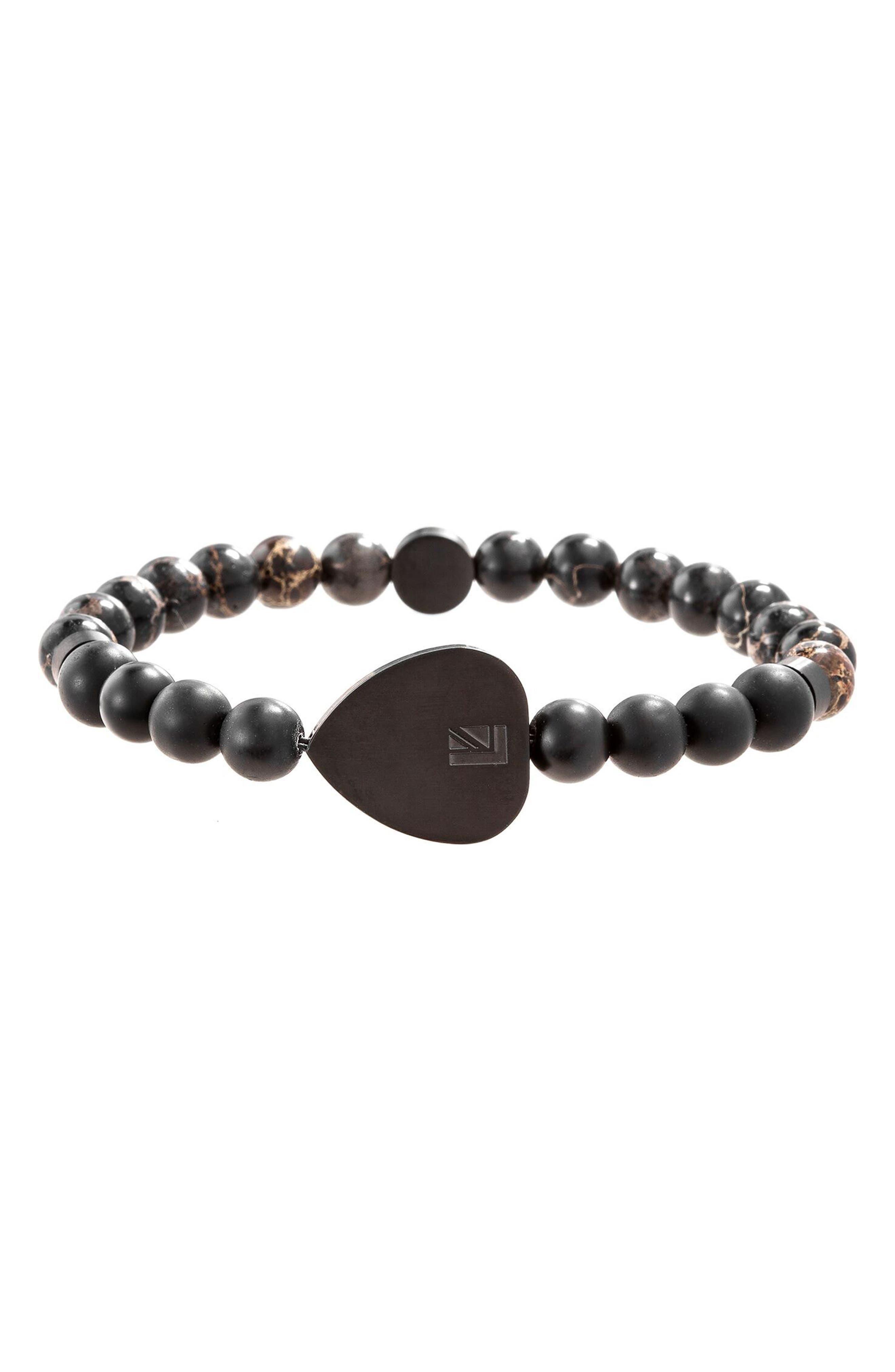 Stone Heart Station Bead Bracelet,                             Main thumbnail 1, color,                             Black