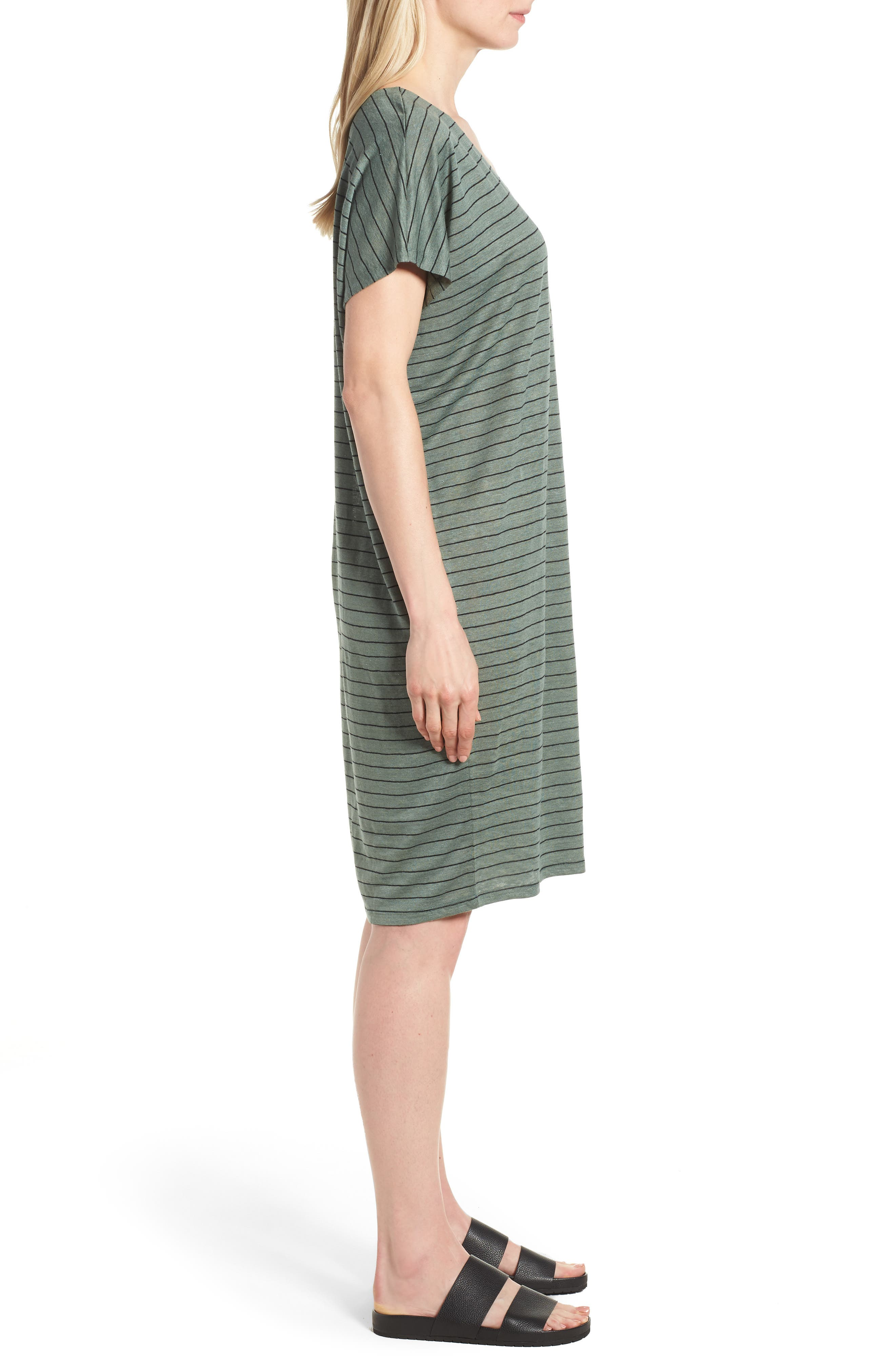 Stripe Organic Linen Shift Dress,                             Alternate thumbnail 3, color,                             Nori