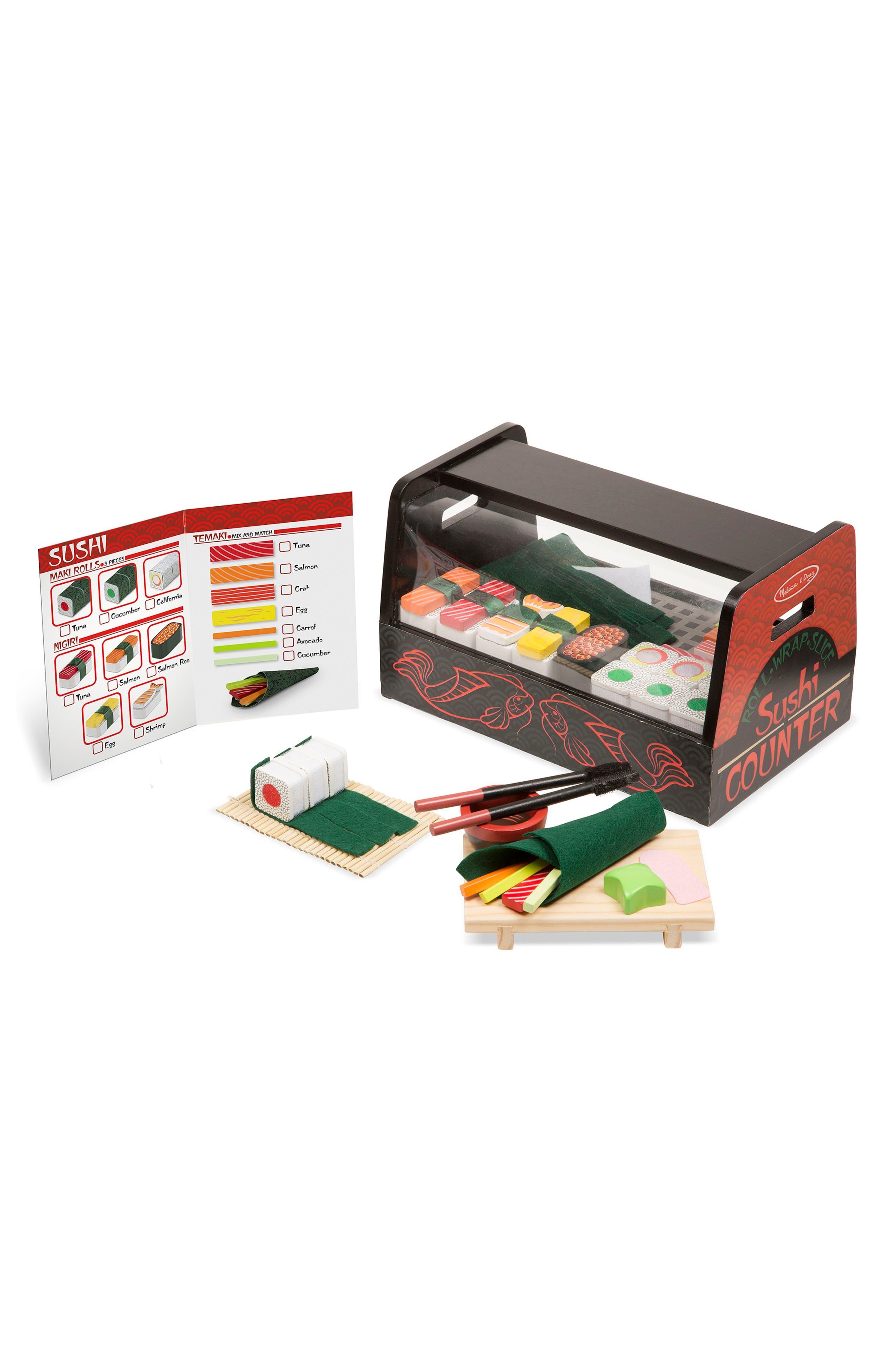 Melissa & Doug 46-Piece Roll Wrap Slice Sushi Making Play Set