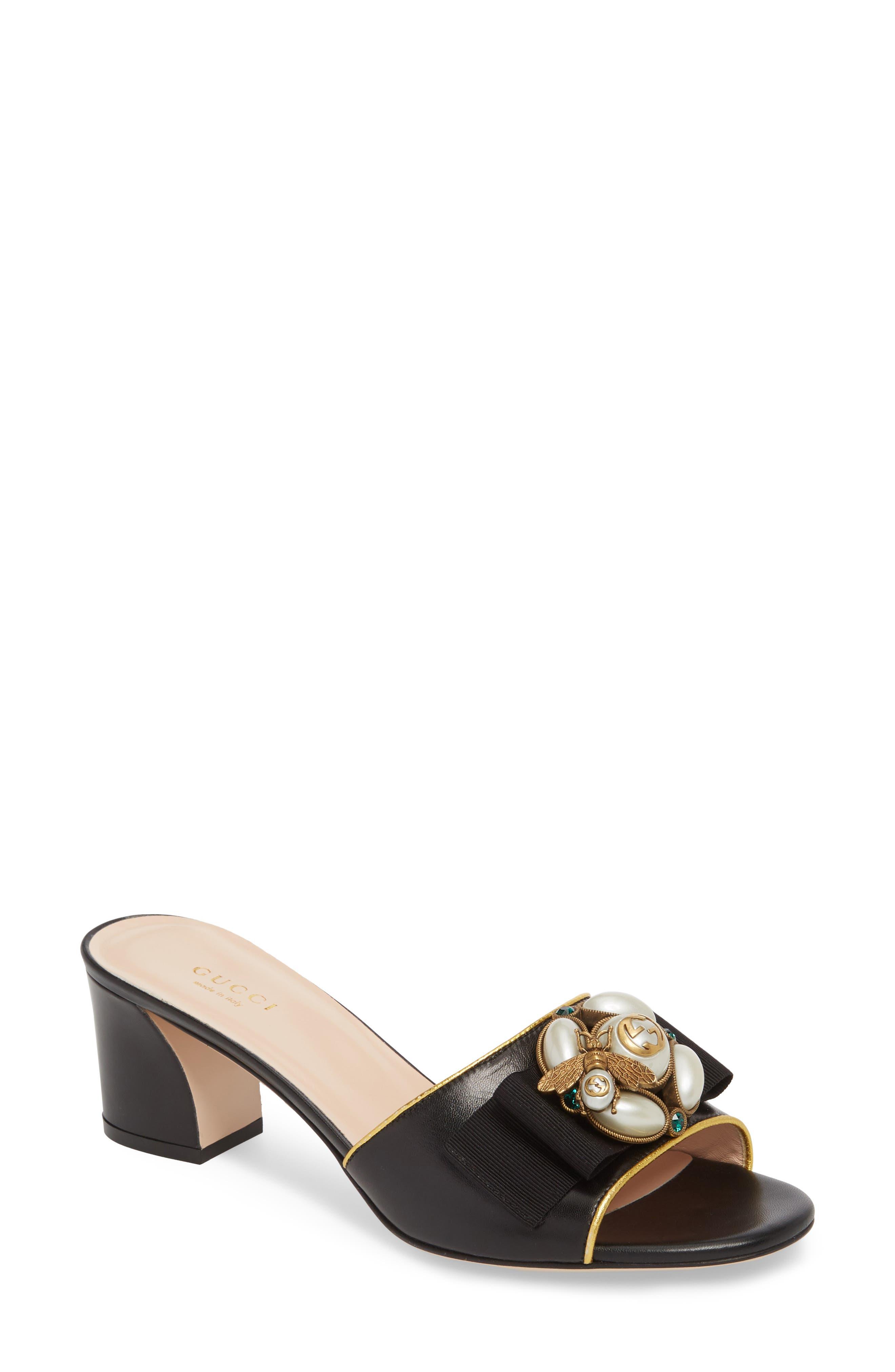 Gucci Etoile Bee Embellished Slide Sandal (Women)