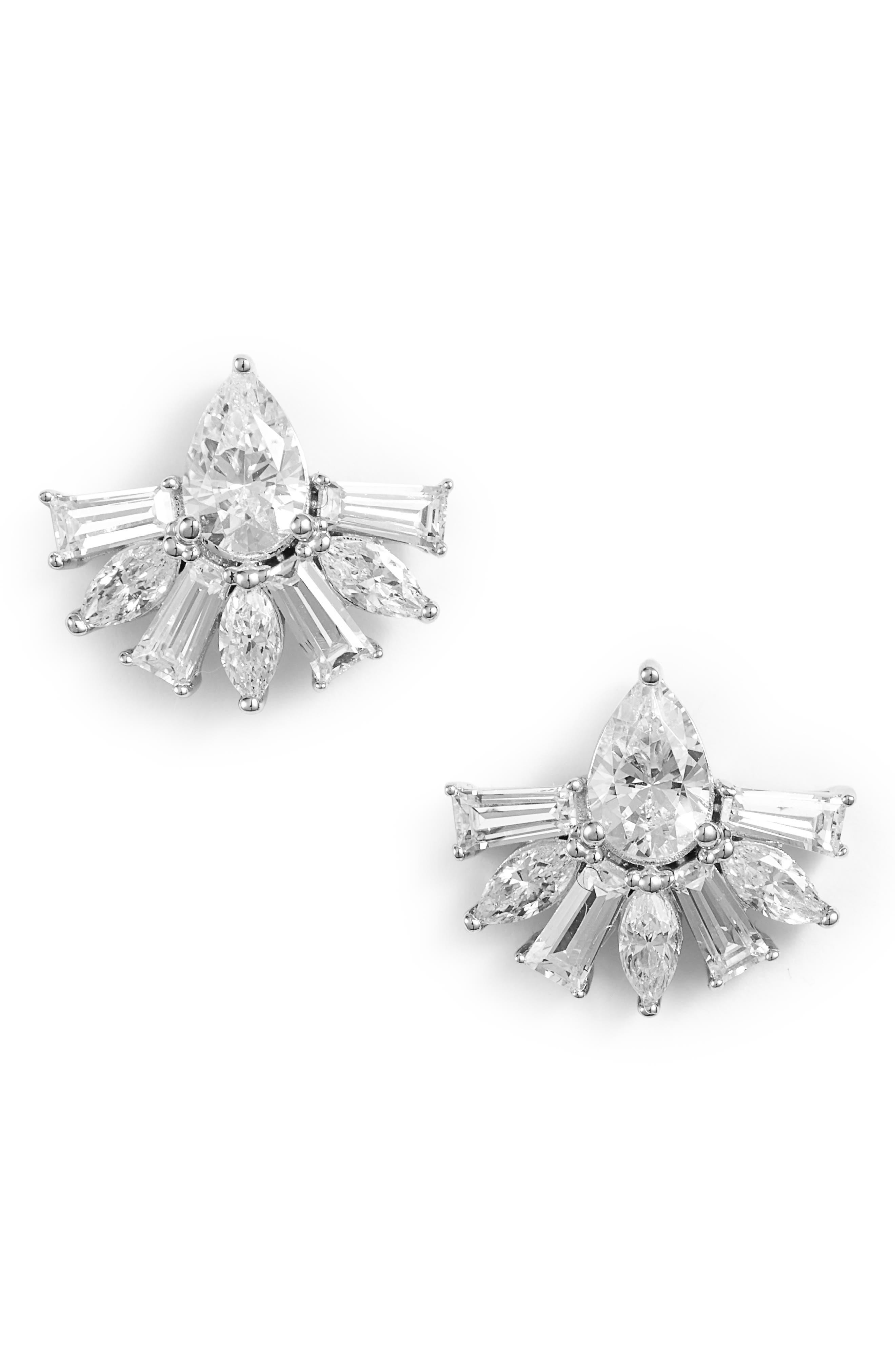 Fanfare Cubic Zirconia Earrings,                             Main thumbnail 1, color,                             Silver