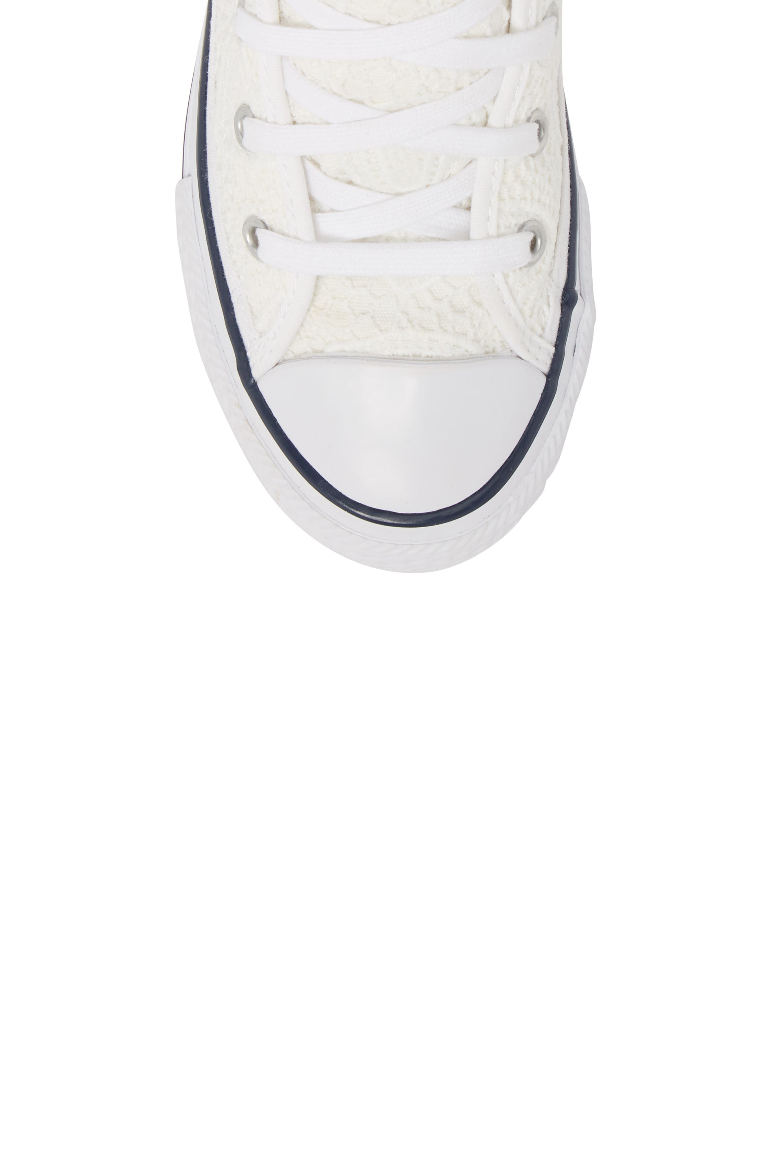 Chuck Taylor<sup>®</sup> All Star<sup>®</sup> Crochet High Top Sneaker,                             Alternate thumbnail 5, color,                             White