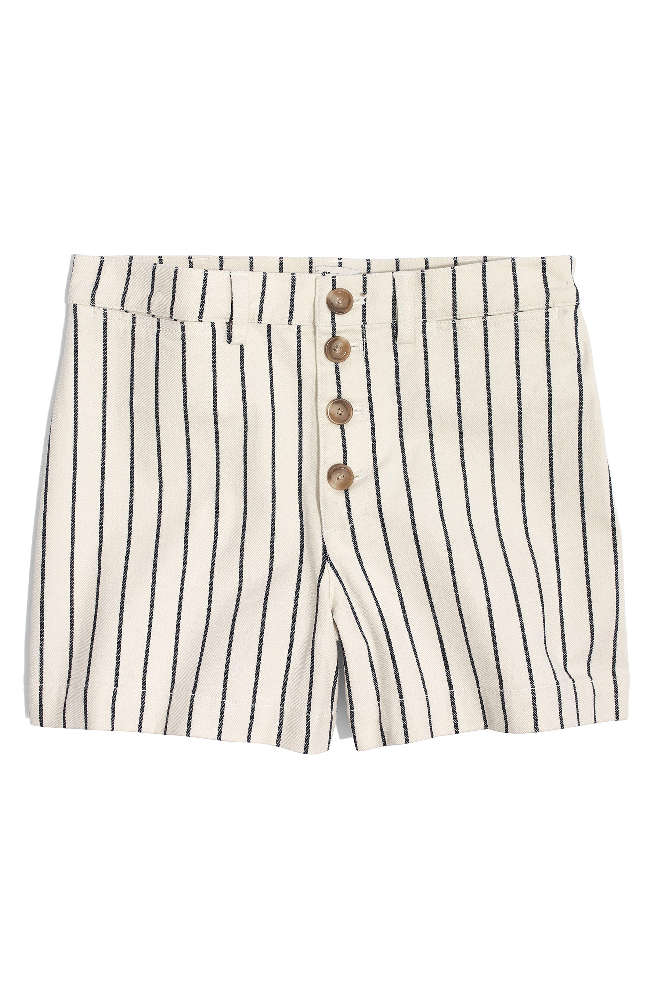 Emmett Stripe Button Front Shorts,                             Alternate thumbnail 3, color,                             Rail Road Stripe