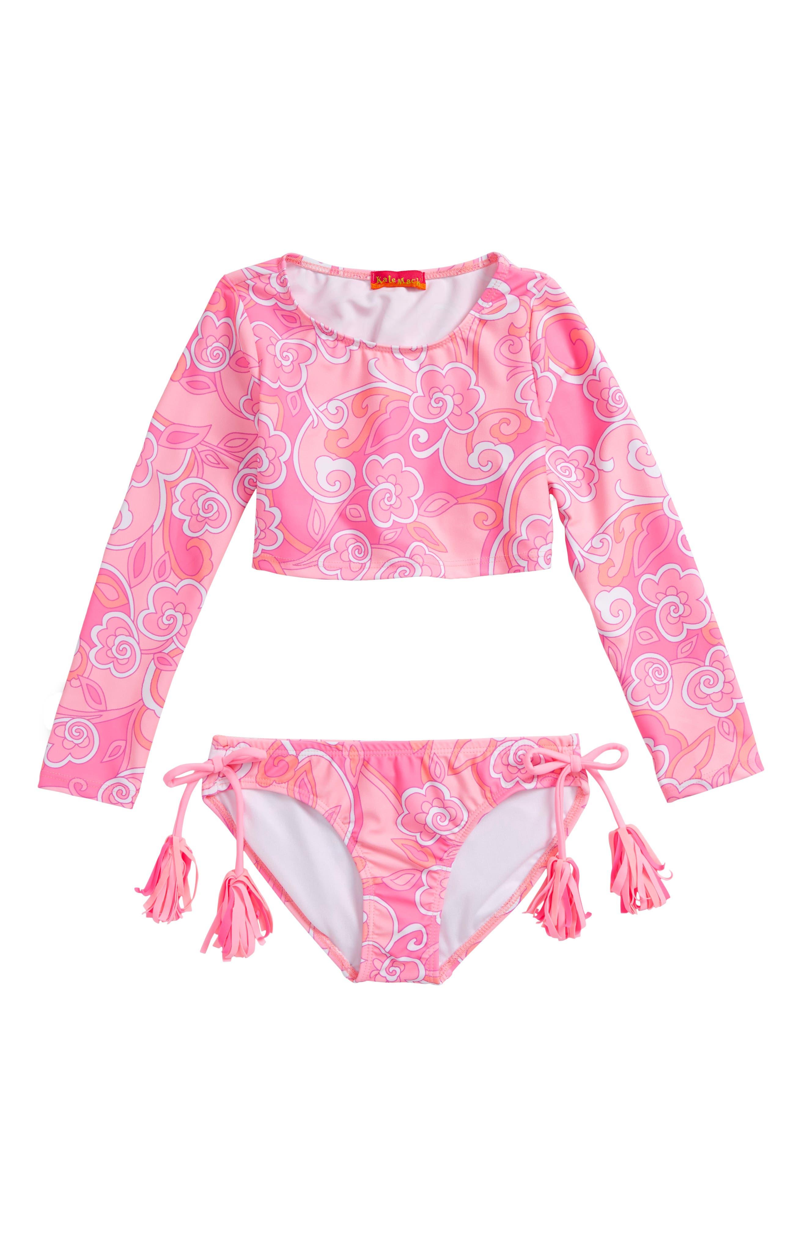 Alternate Image 1 Selected - Kate Mack Two-Piece Rashguard Swimsuit (Little Girls)