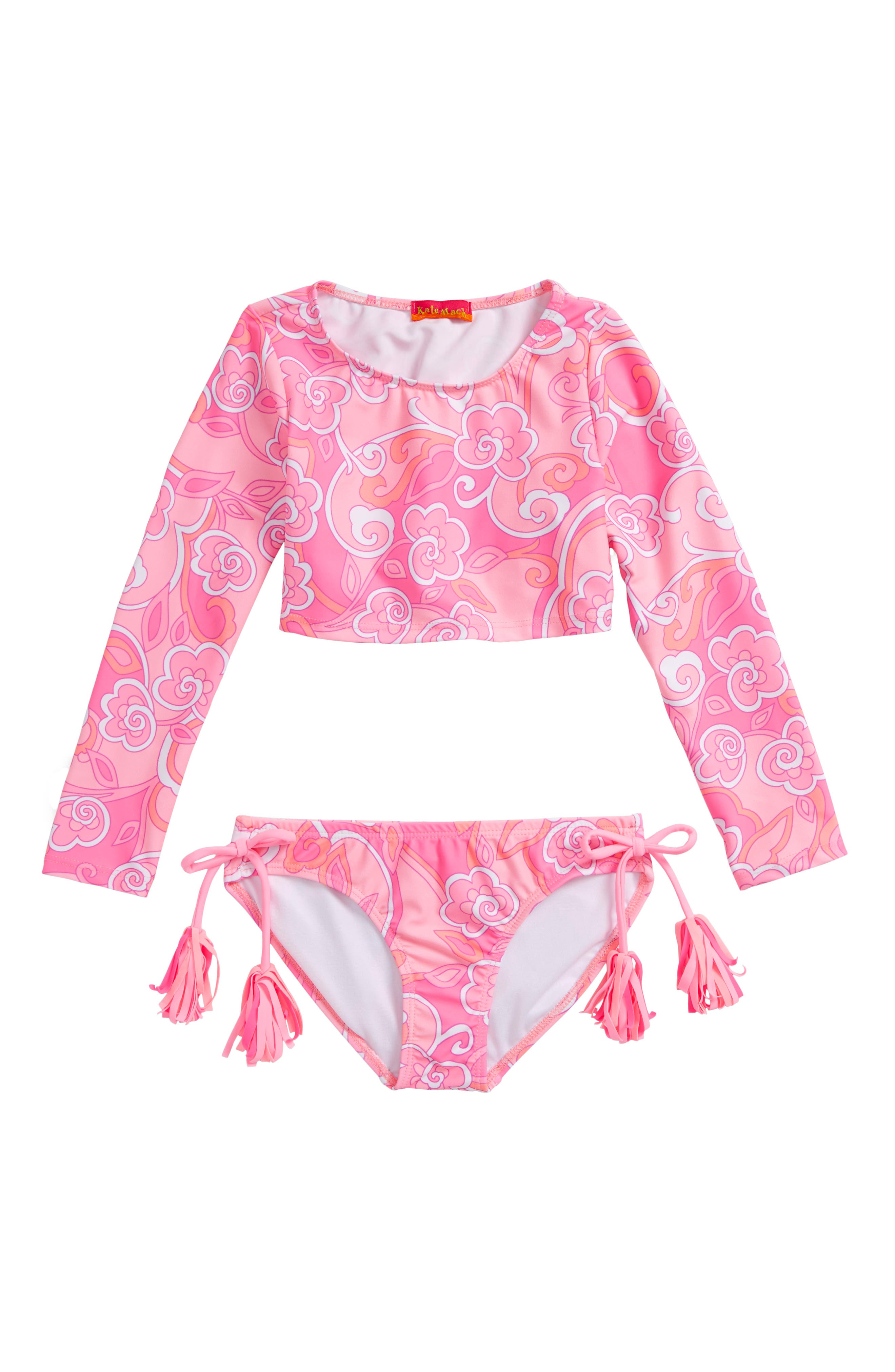 Two-Piece Rashguard Swimsuit,                         Main,                         color, Pink