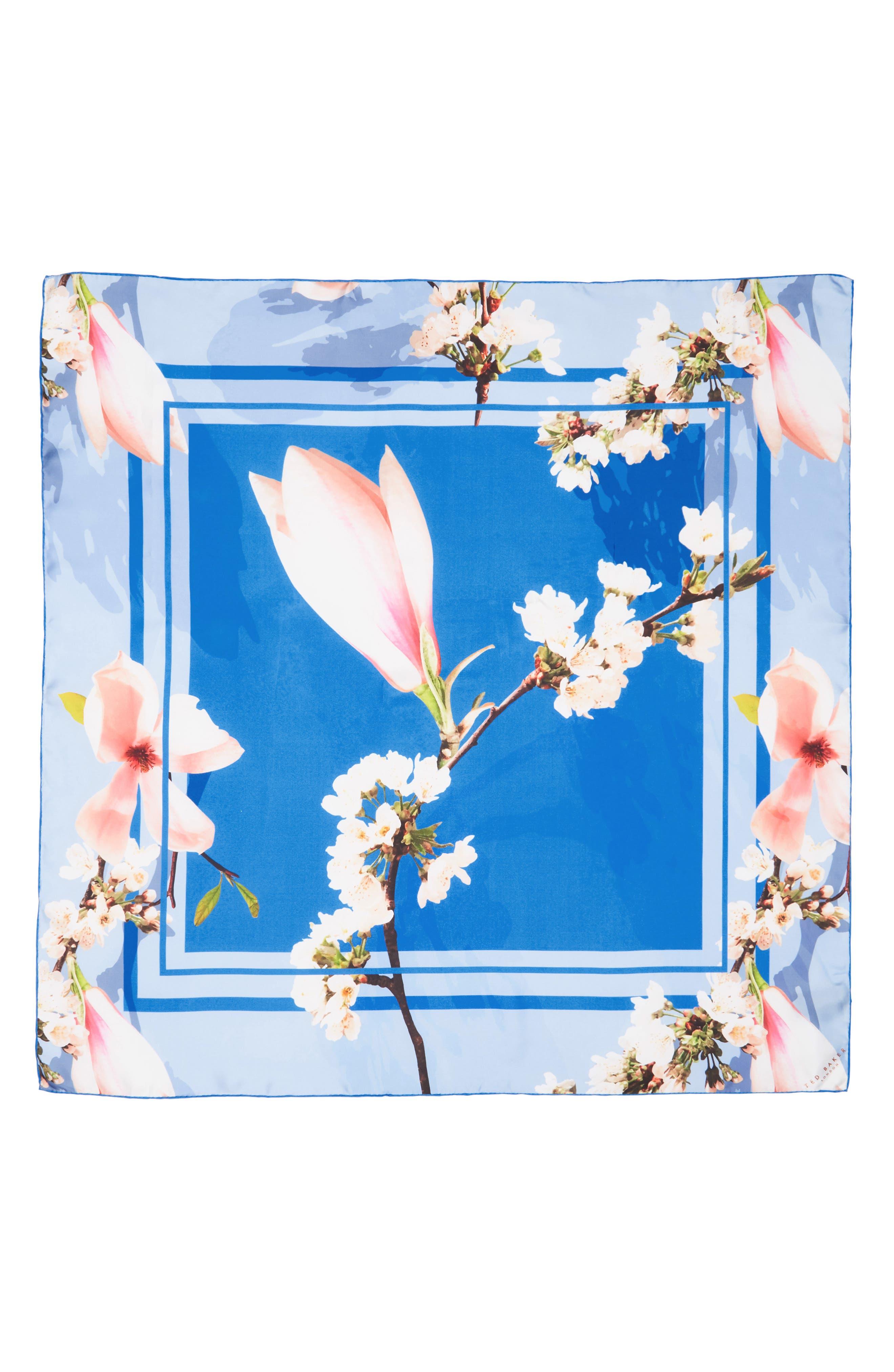 Harmony Square Silk Scarf,                             Alternate thumbnail 3, color,                             Bright Blue