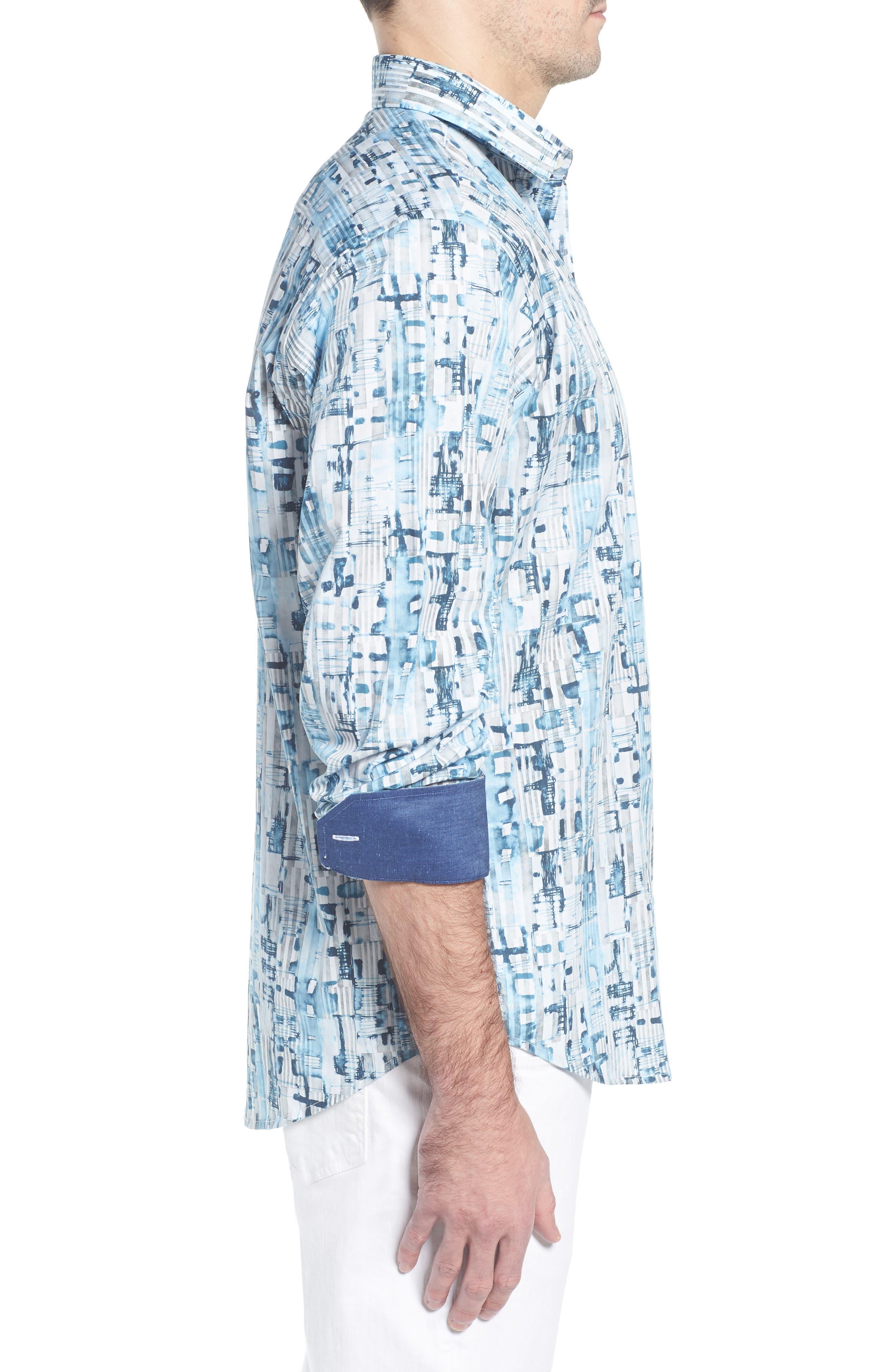 Classic Fit Abstract Stripe Print Sport Shirt,                             Alternate thumbnail 4, color,                             Aqua