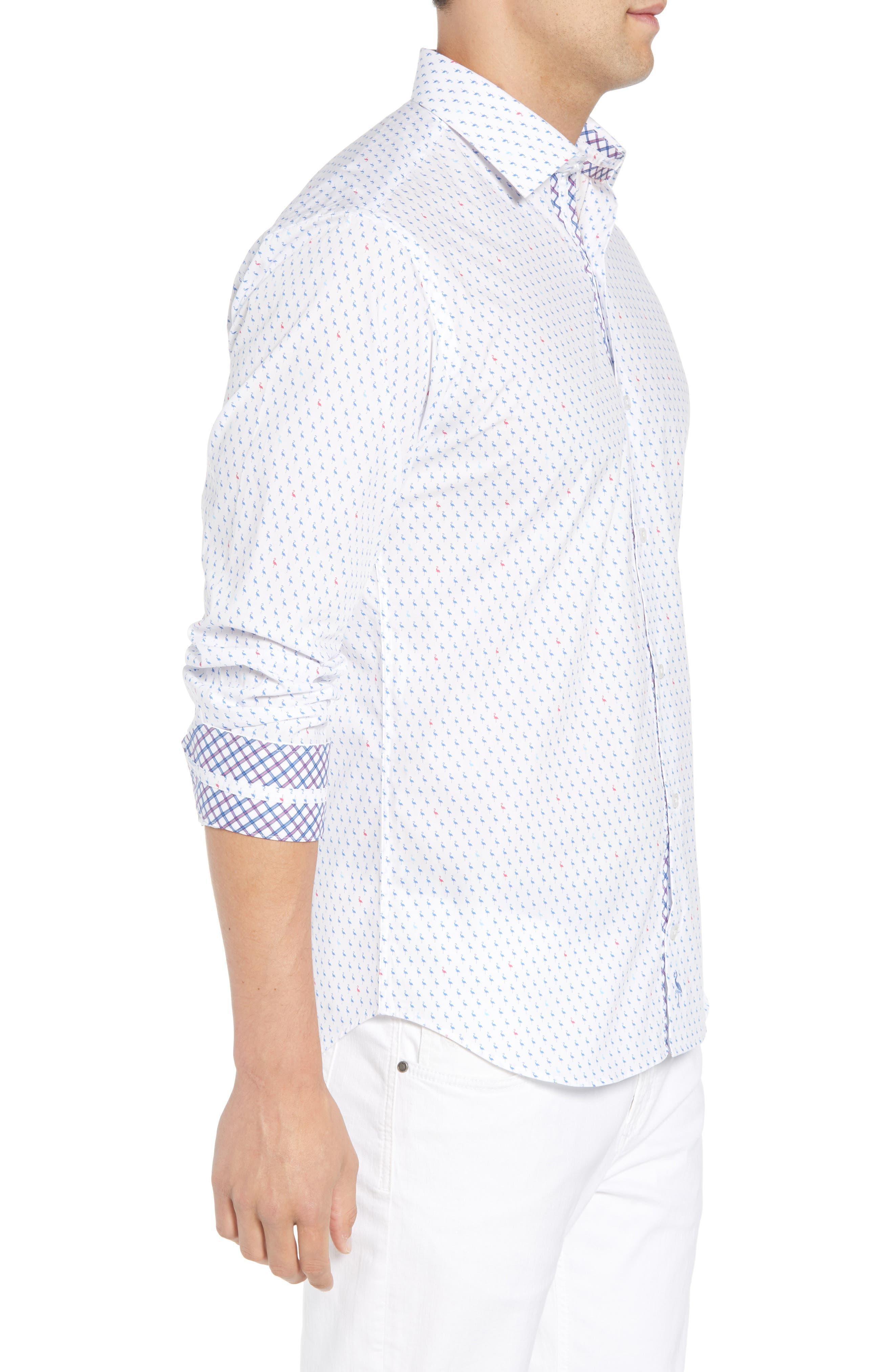 Auden Regular Fit Print Sport Shirt,                             Alternate thumbnail 4, color,                             Peri Blue