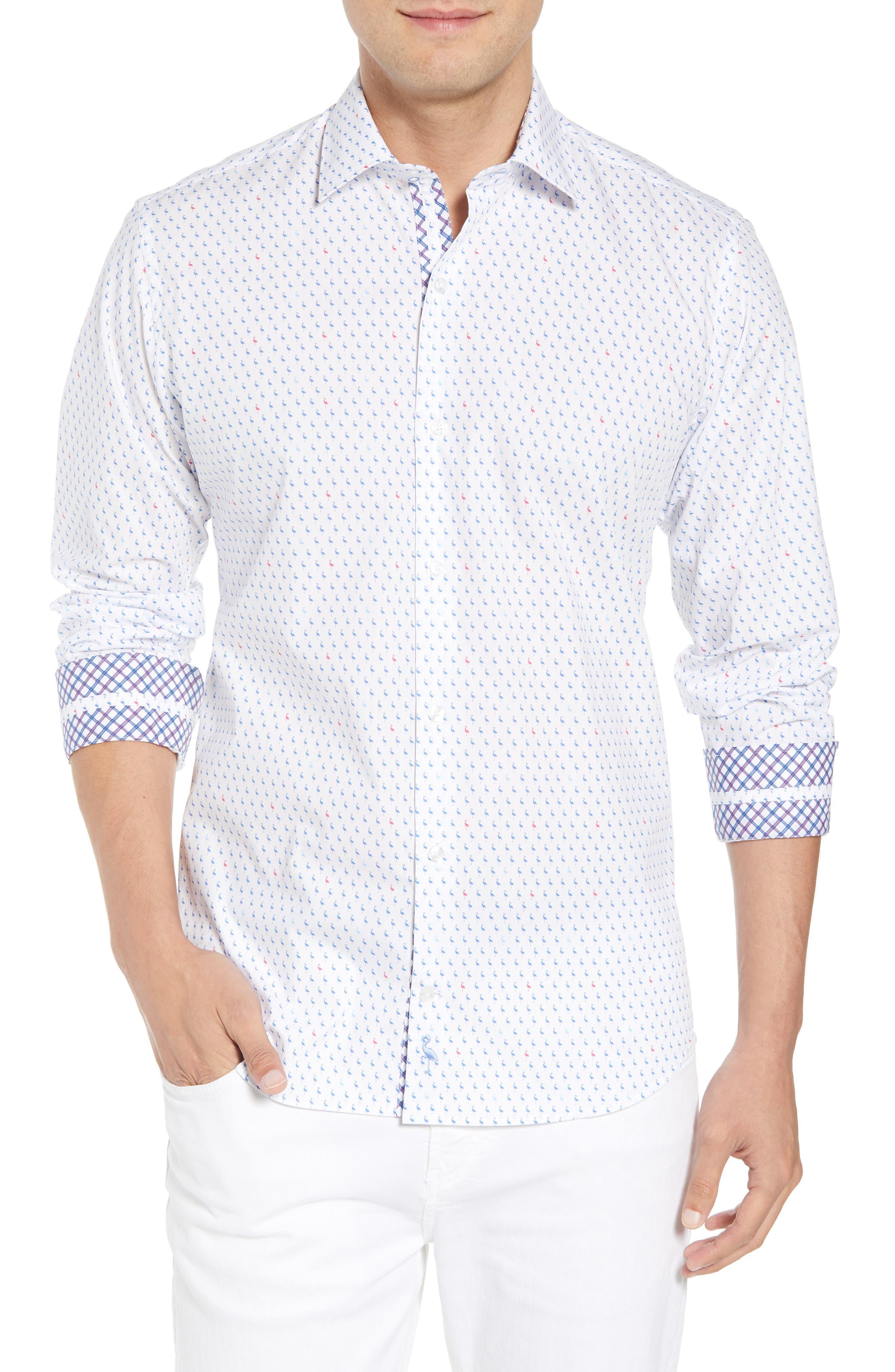 Auden Regular Fit Print Sport Shirt,                             Main thumbnail 1, color,                             Peri Blue