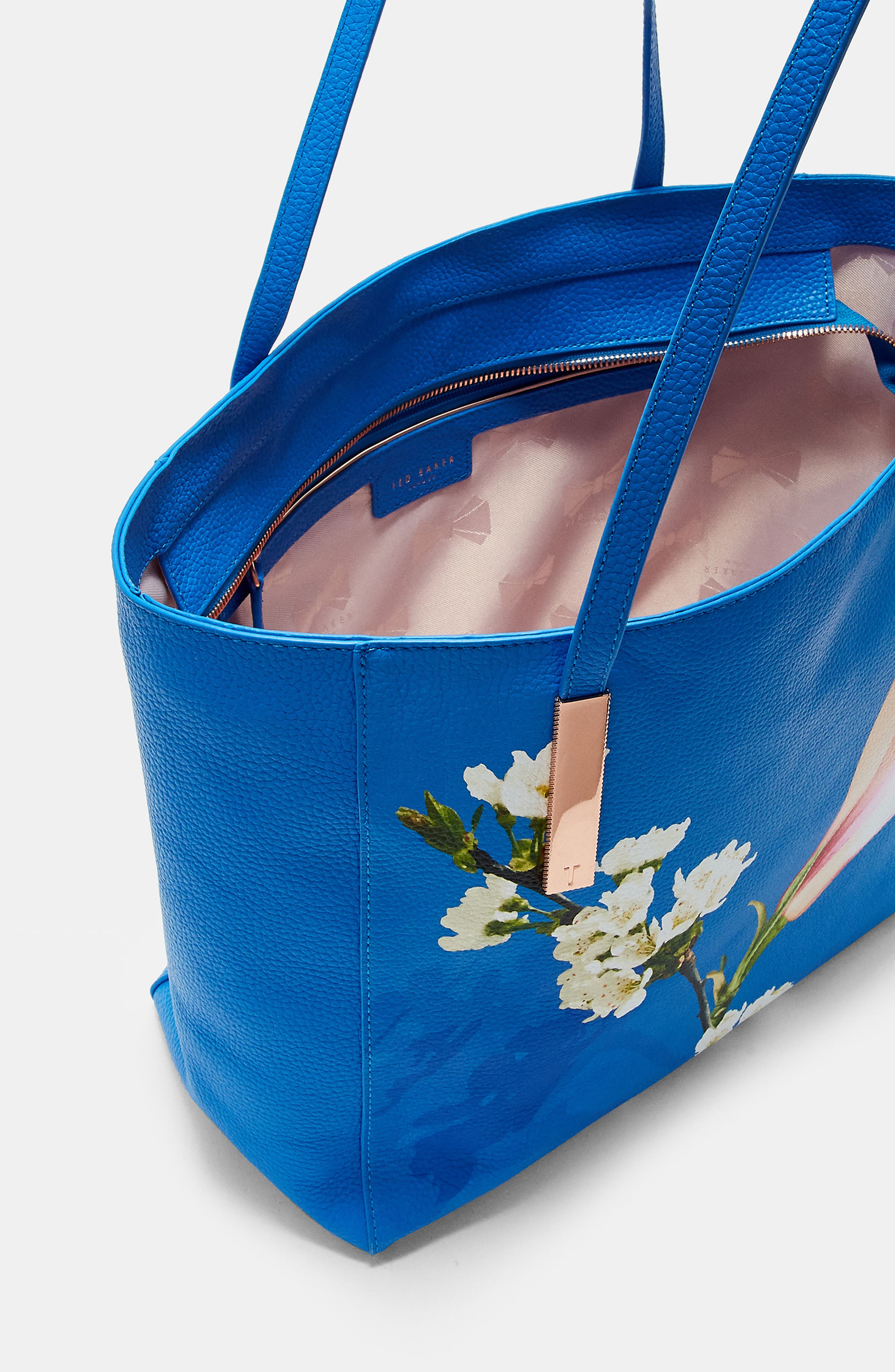 Haanaa Harmony Pebbled Leather Tote,                             Alternate thumbnail 4, color,                             Bright Blue