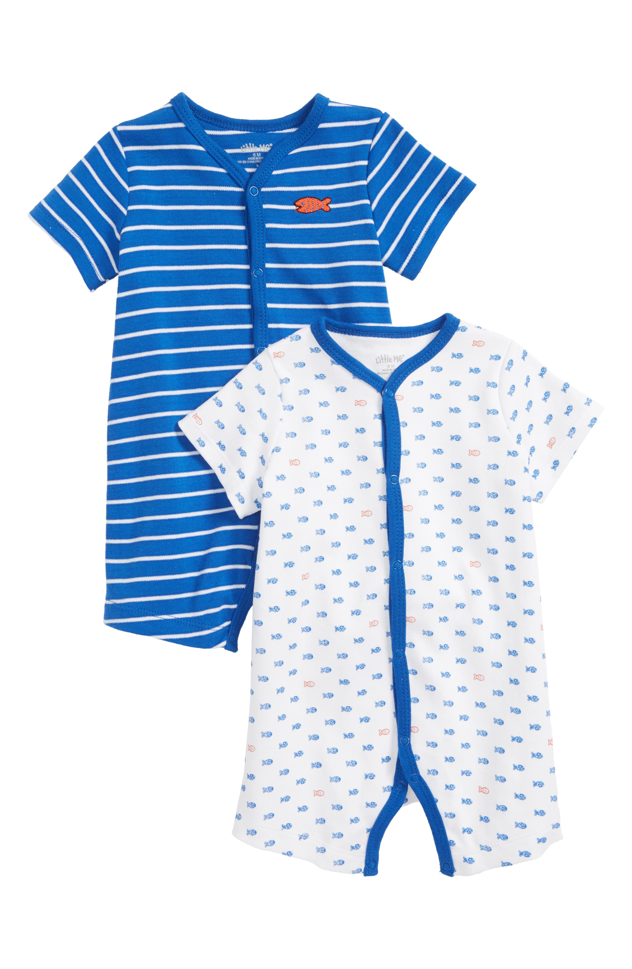 Fish 2-Pack Rompers,                         Main,                         color, Blue