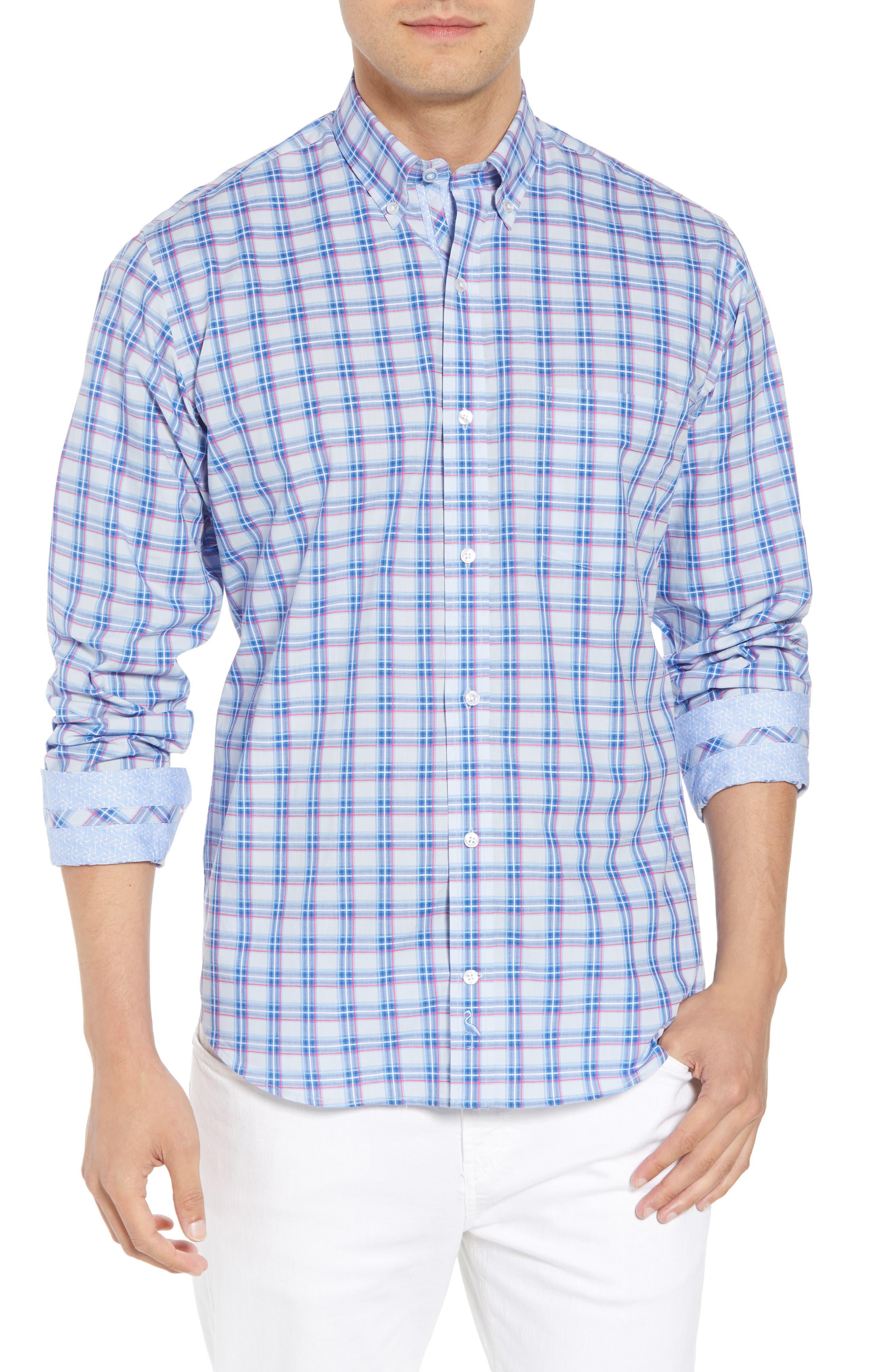 Alvaro Regular Fit Plaid Sport Shirt,                         Main,                         color, Light Blue