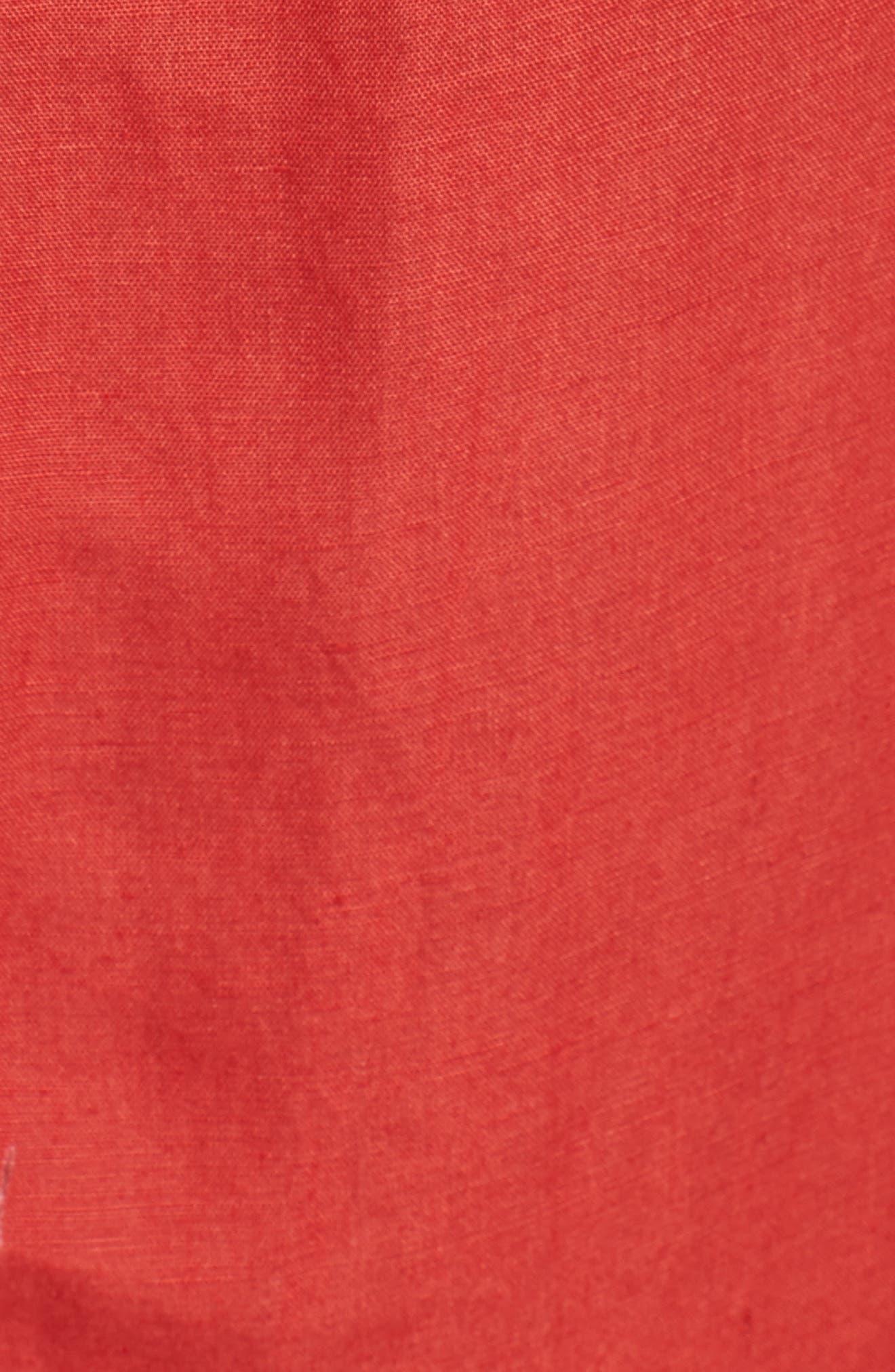 Linen Blend Midi Skirt,                             Alternate thumbnail 5, color,                             Red