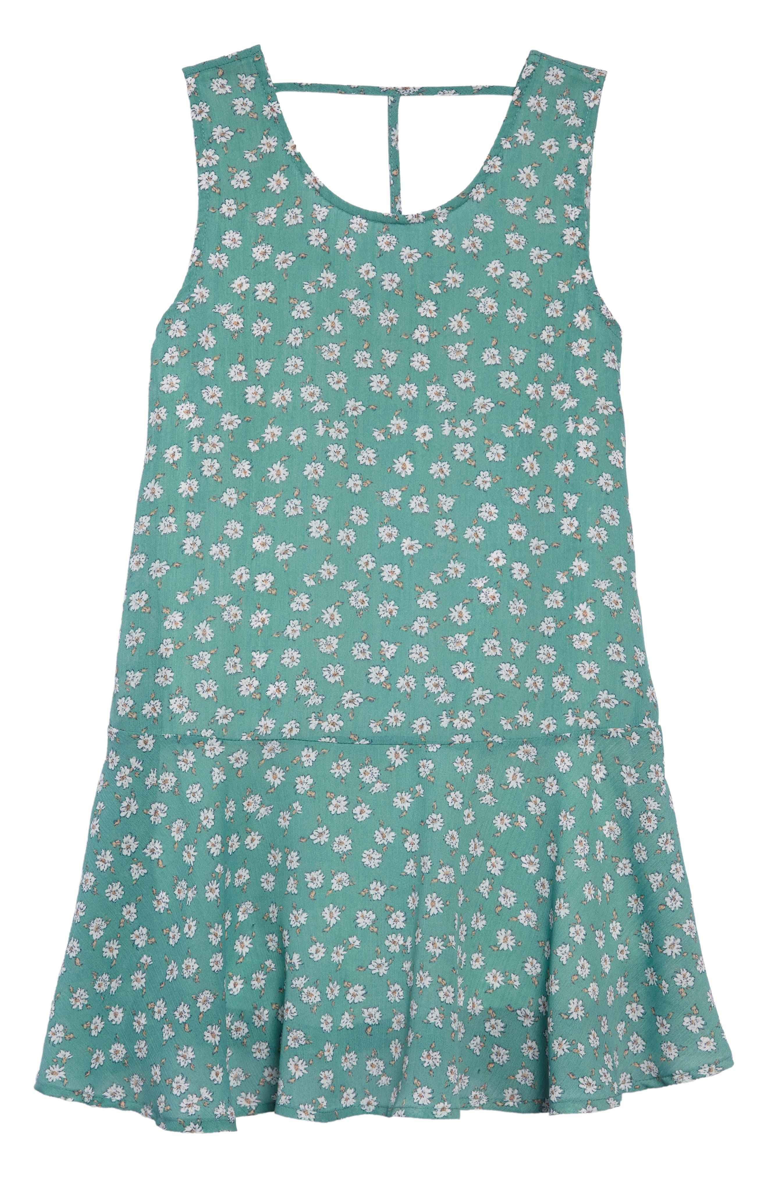 Brooklyn Floral Drop Waist Dress,                             Main thumbnail 1, color,                             Mint