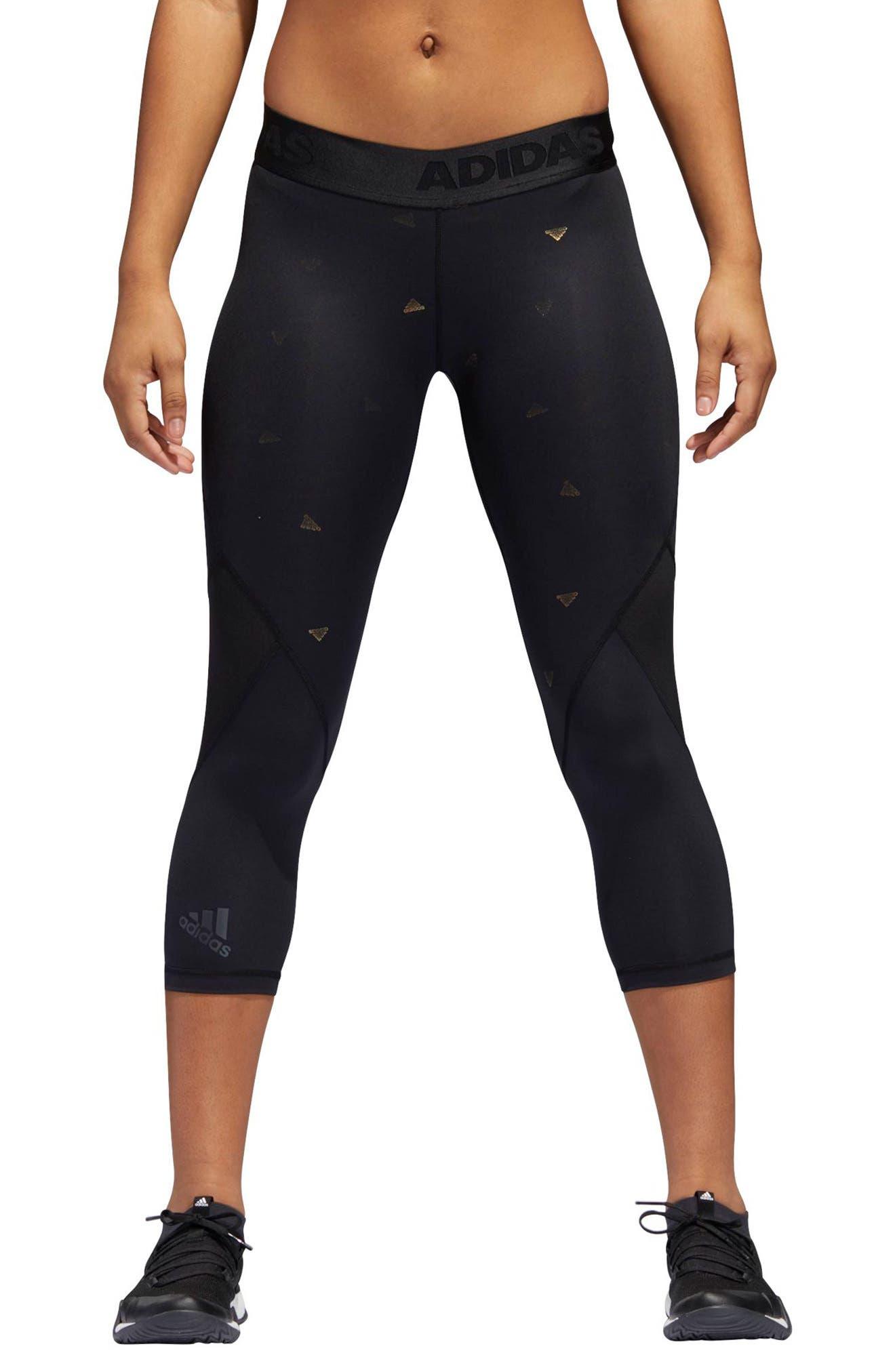 Alphaskin Sport Capri Leggings,                         Main,                         color, Black / Print