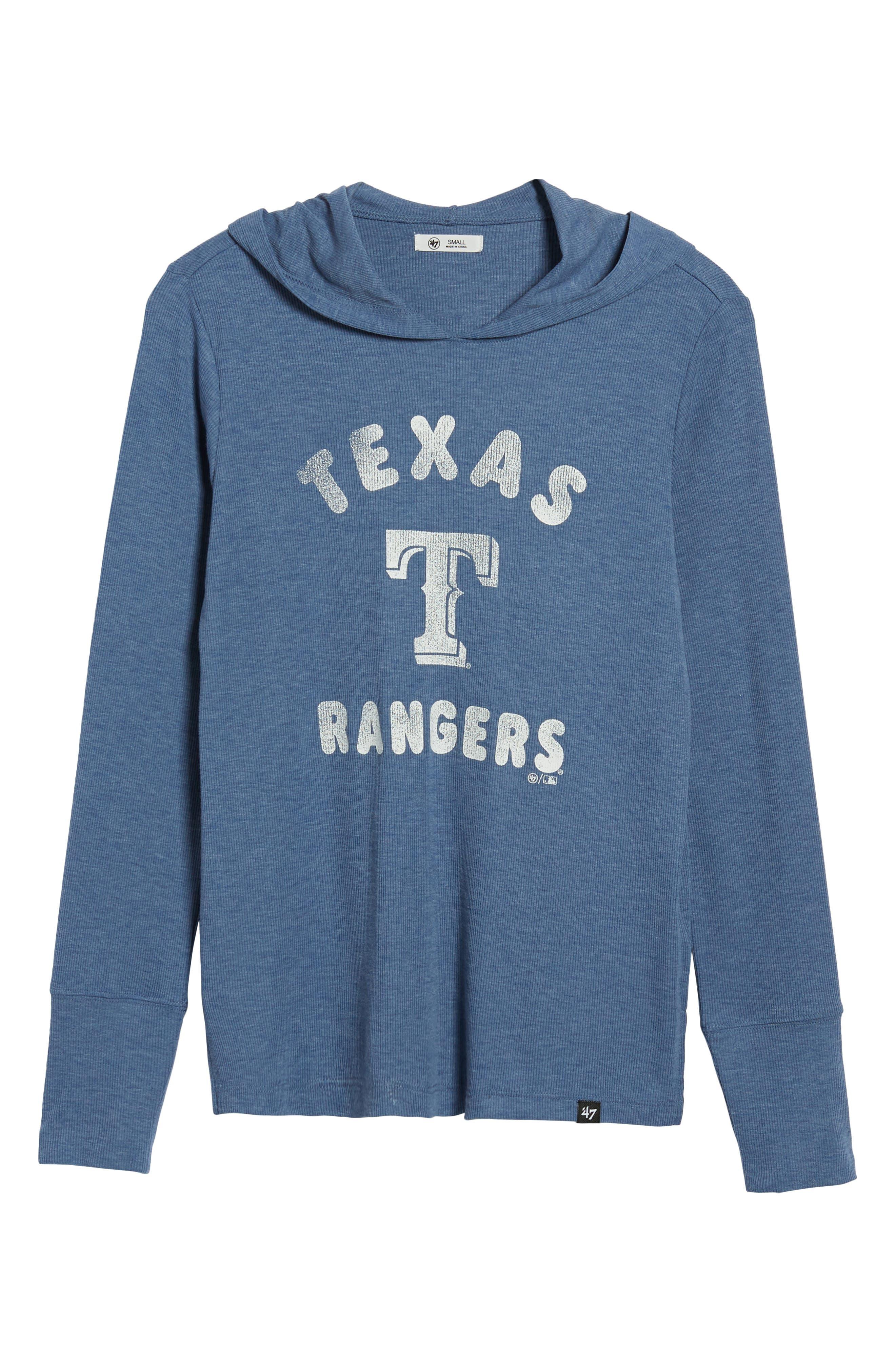 Campbell Texas Rangers Rib Knit Hooded Top,                             Alternate thumbnail 7, color,                             Bleacher Blue