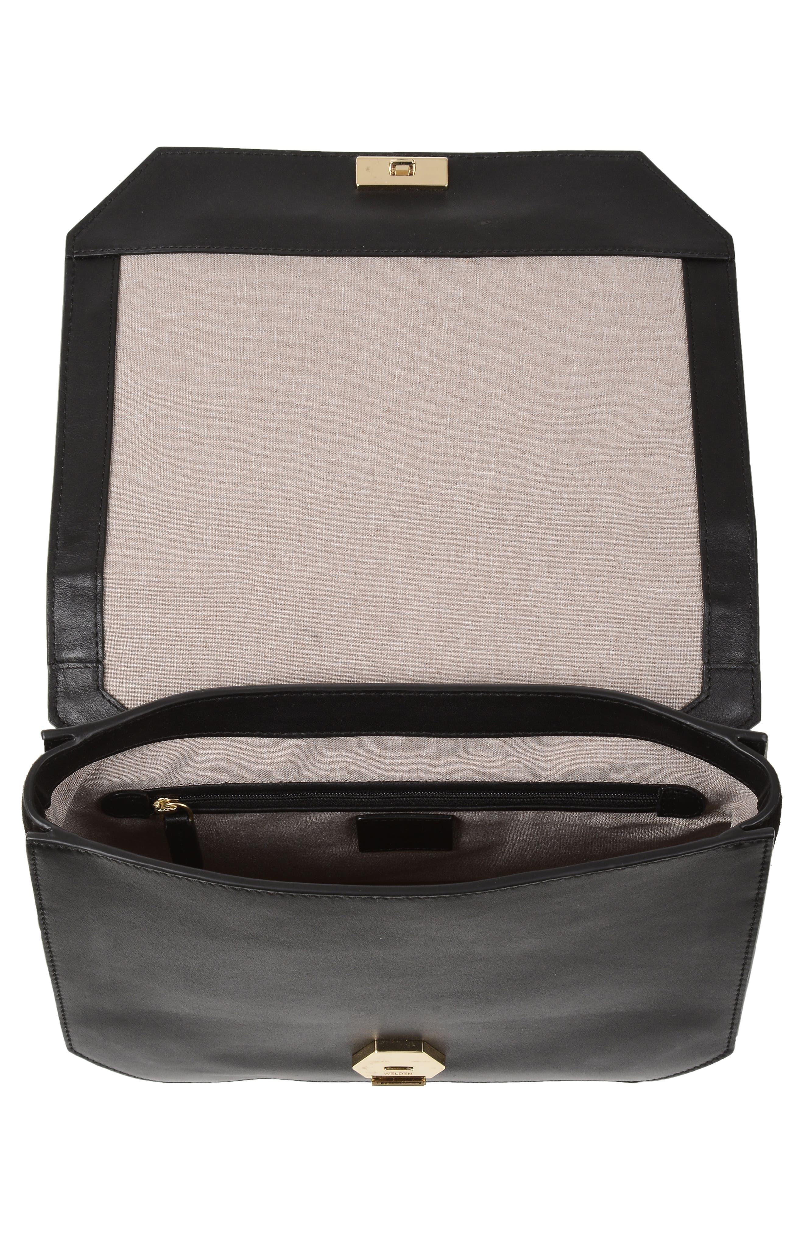 Supine Leather Shoulder Bag,                             Alternate thumbnail 5, color,                             Black