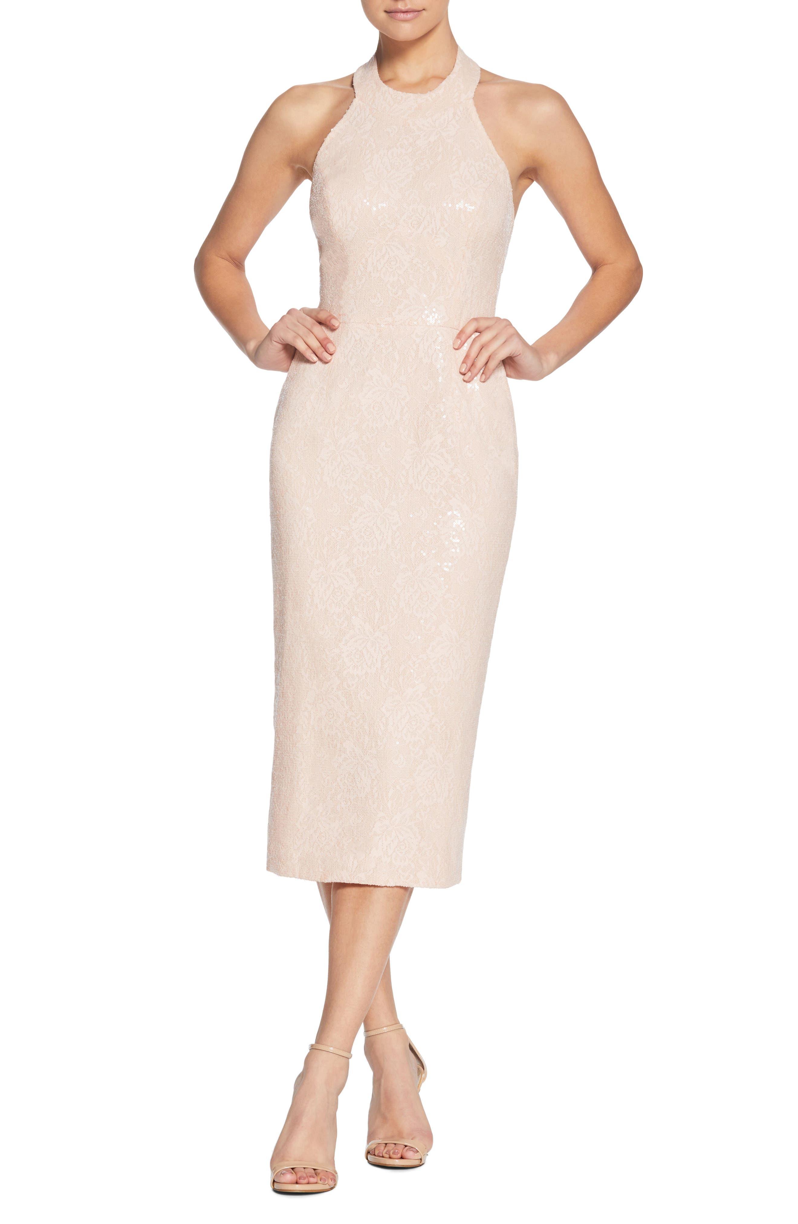 Cassie Halter Sequin Dress,                             Main thumbnail 1, color,                             Pink/ Nude