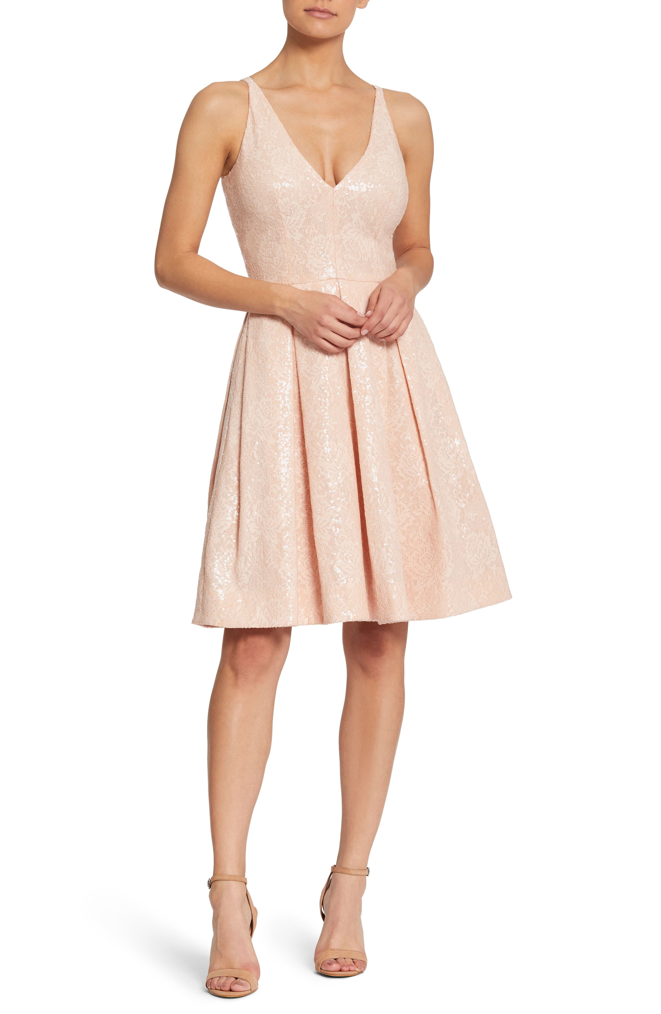 Collette Sequin Fit & Flare Dress,                             Main thumbnail 1, color,                             Pink/ Nude