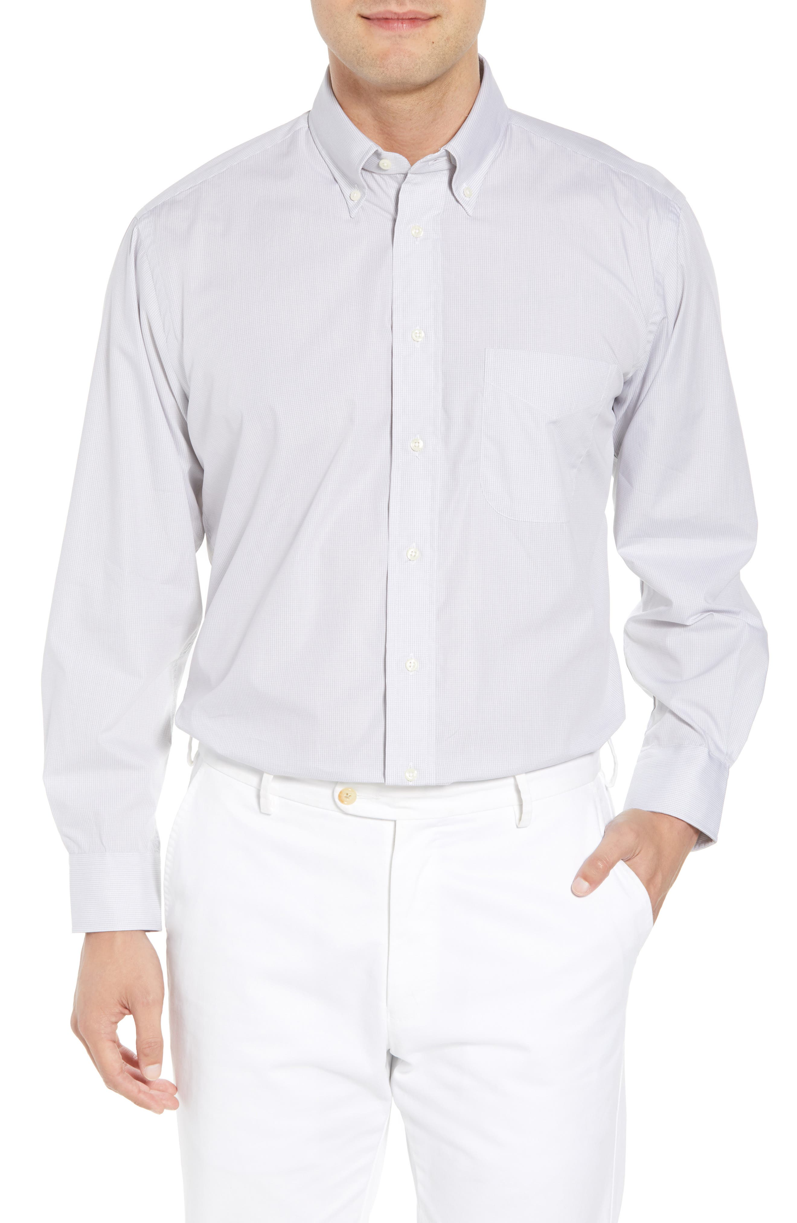 Tailored Fit Check Dress Shirt,                         Main,                         color, Charcoal