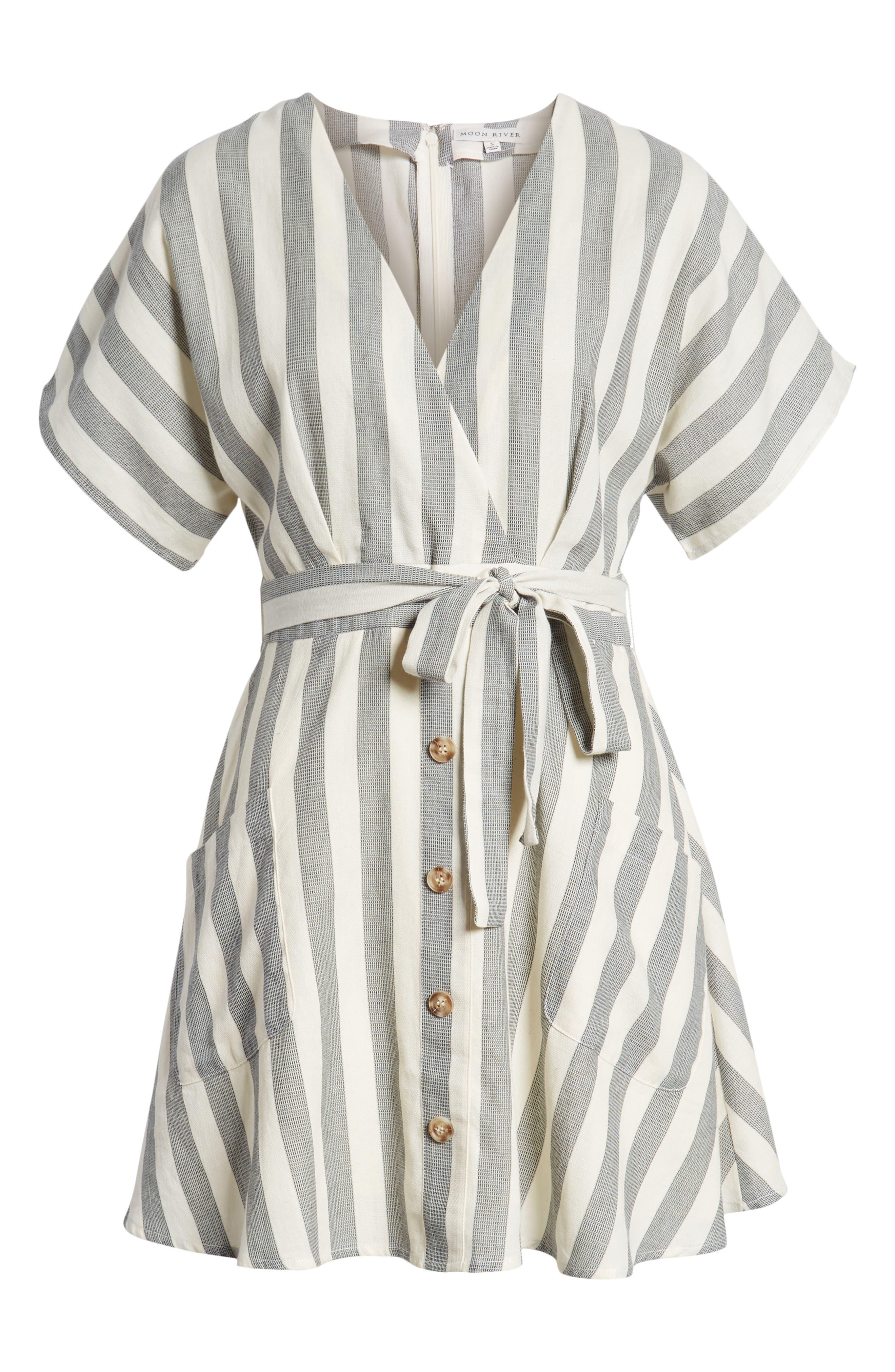 Stripe Cotton Wrap Dress,                             Alternate thumbnail 8, color,                             Black Stripe