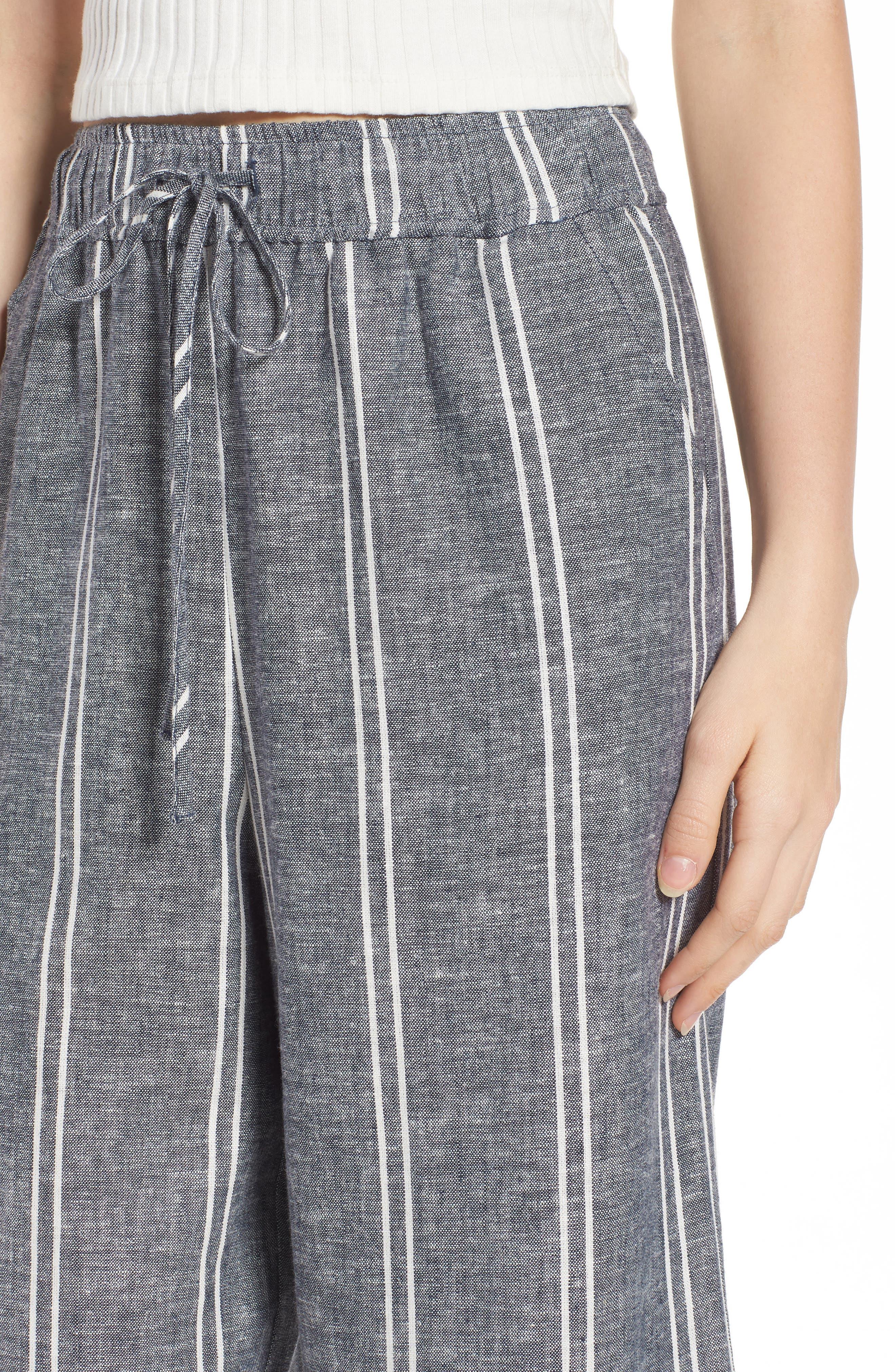 Stripe Linen Blend Culottes,                             Alternate thumbnail 4, color,                             Navy Peacoat Chambray Stripe