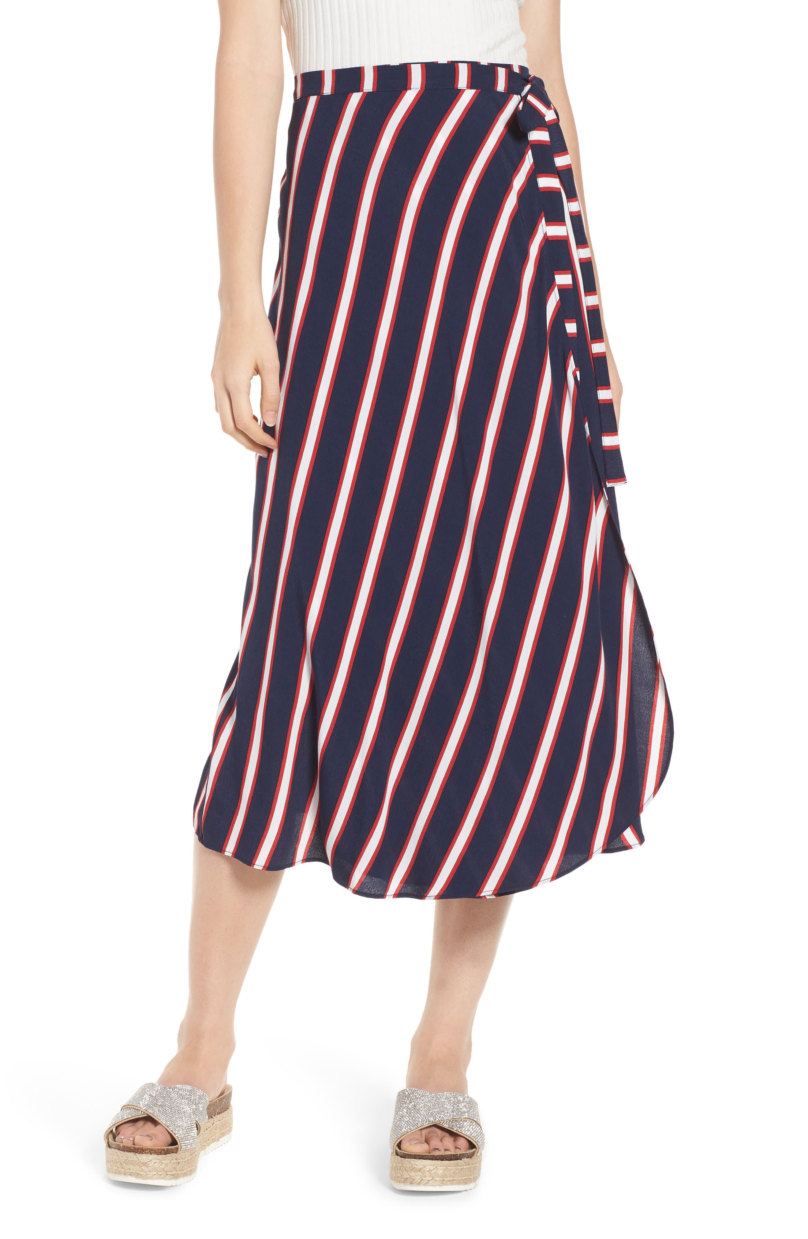Stripe Midi Wrap Skirt,                             Main thumbnail 1, color,                             Navy Peacoat Awning Stripe