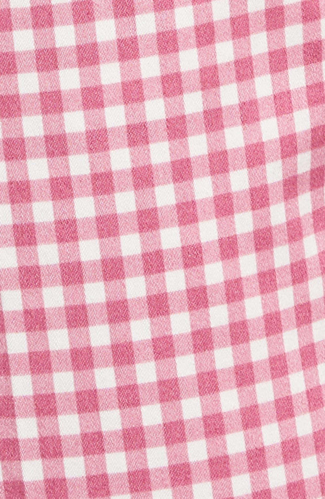 Maron Gingham Stretch Cotton Pants,                             Alternate thumbnail 5, color,                             Pink