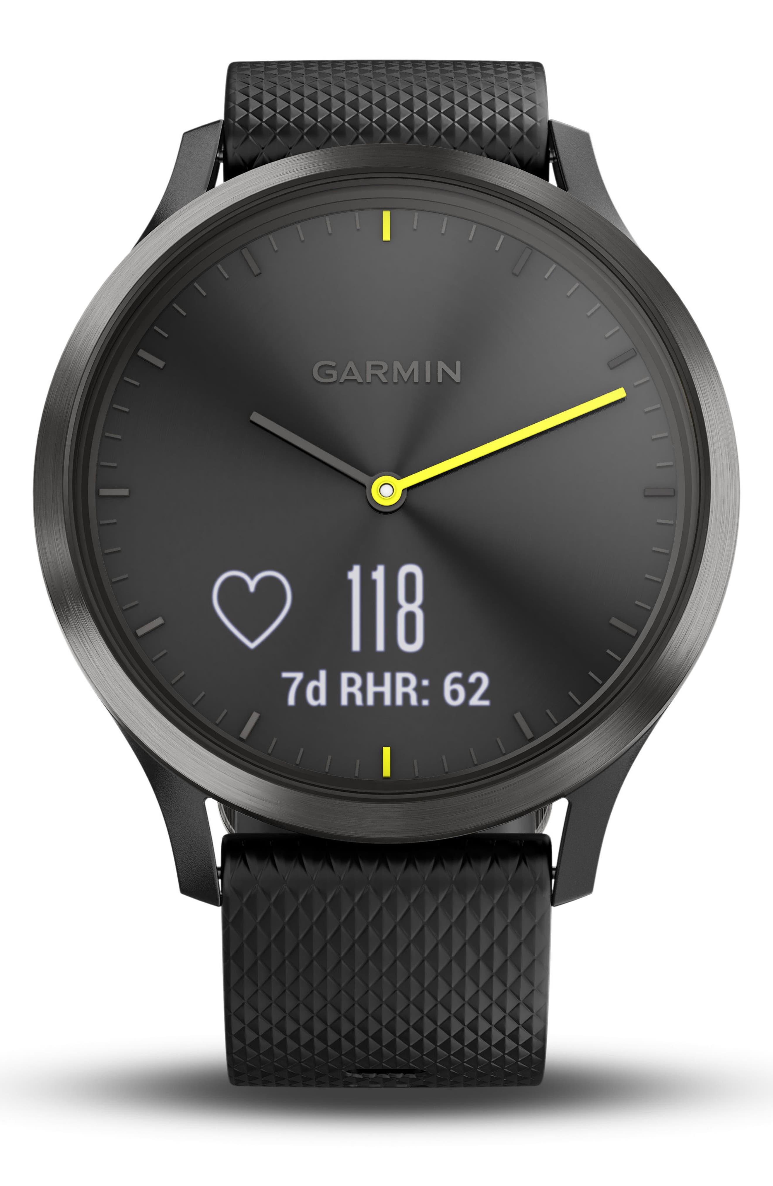 Vivomove HR Large Sport Hybrid Smart Watch,                             Alternate thumbnail 3, color,                             Black/ Black/ Black