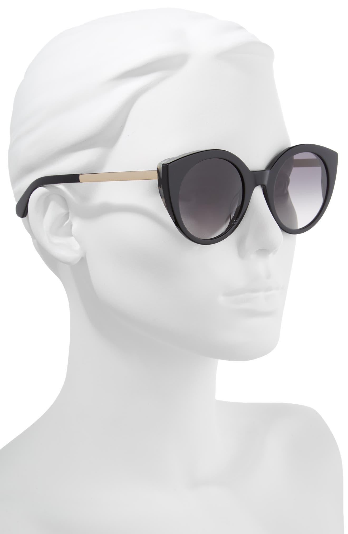 norinas 50mm cat eye sunglasses,                             Alternate thumbnail 2, color,                             Black
