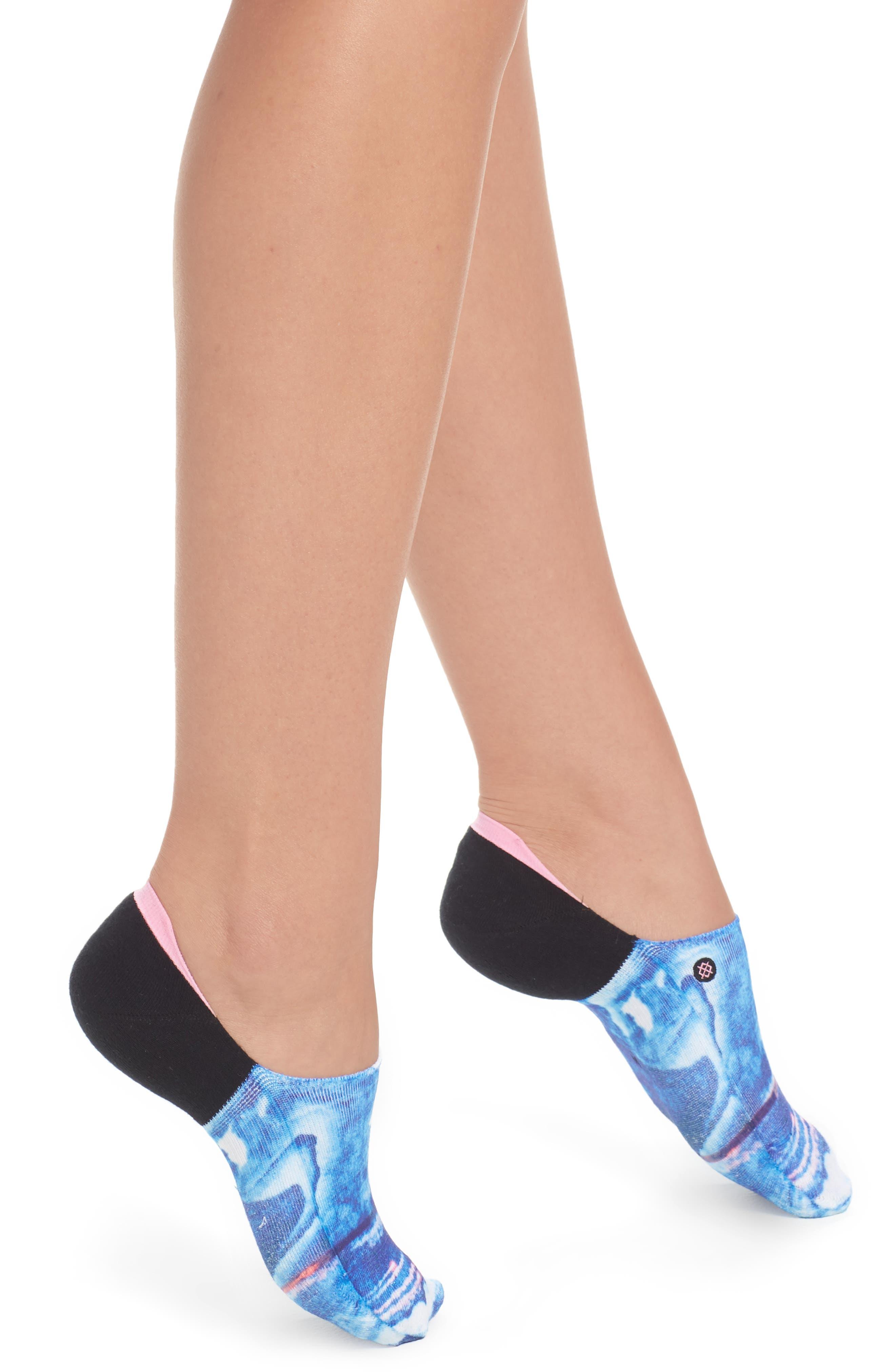 Tropic Storm No-Show Socks,                             Main thumbnail 1, color,                             Blue