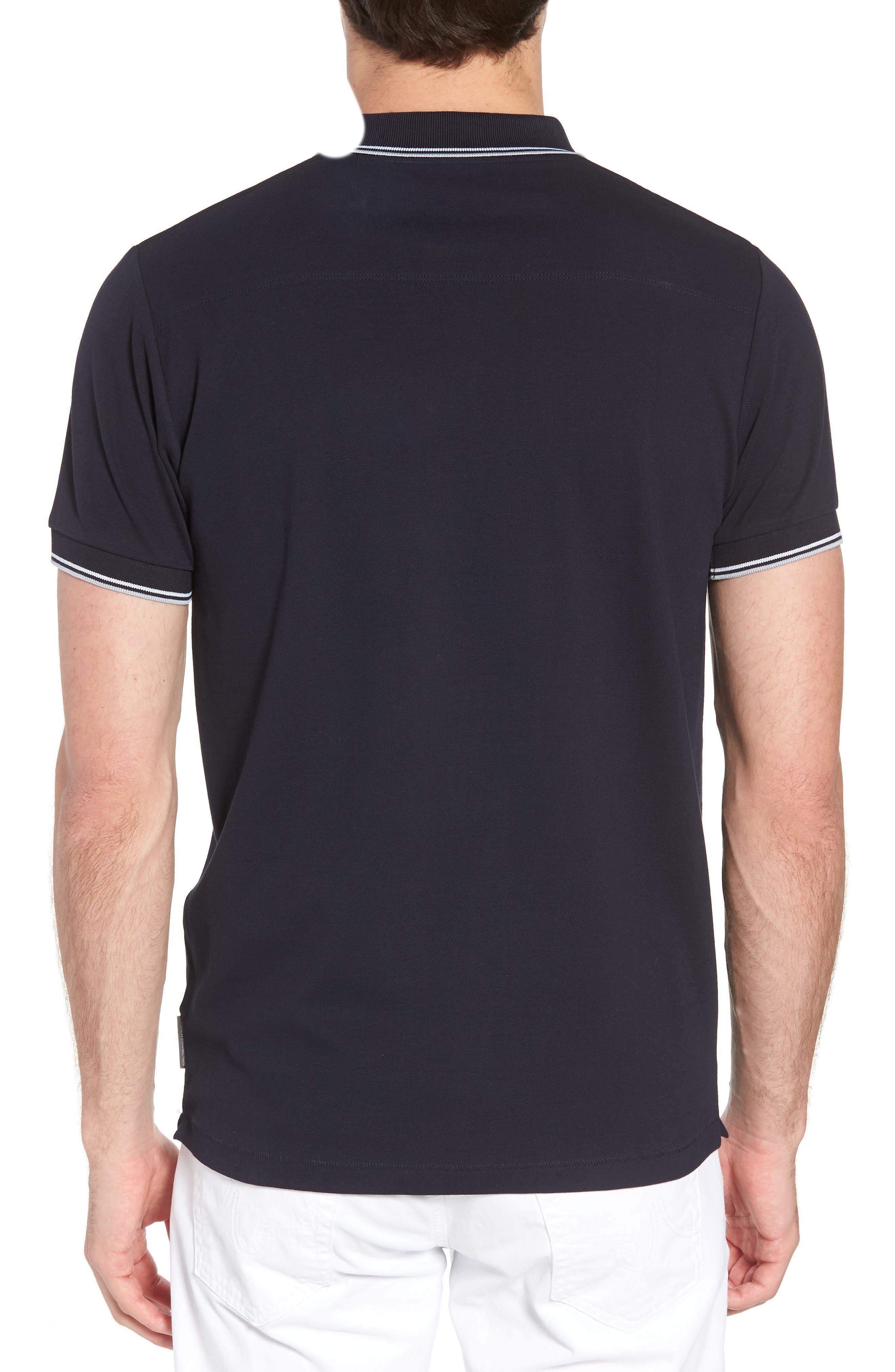 Cotton Polo Shirt,                             Alternate thumbnail 2, color,                             Marine Blue