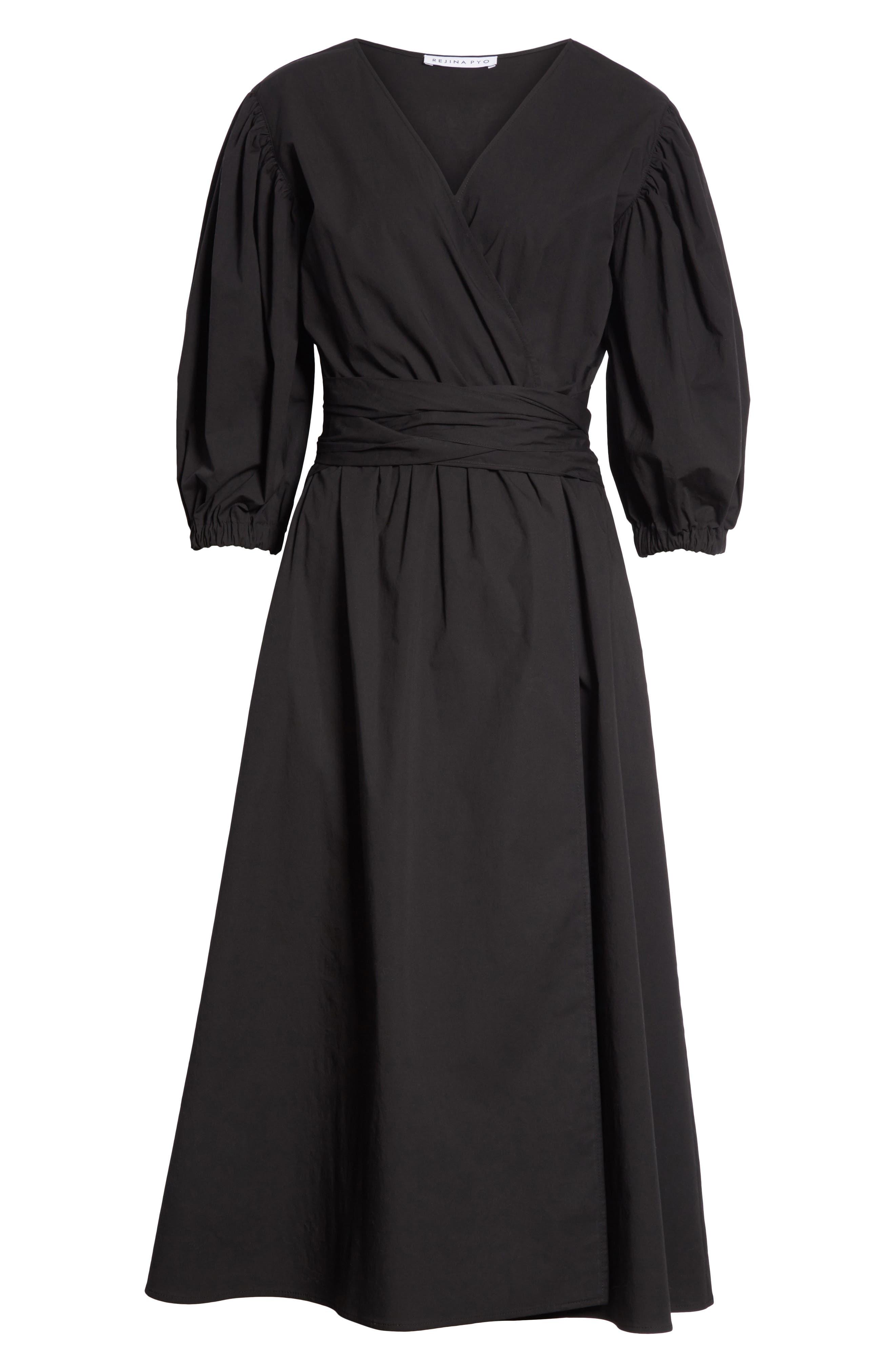 Miriam Wrap Dress,                             Alternate thumbnail 6, color,                             Cotton Black