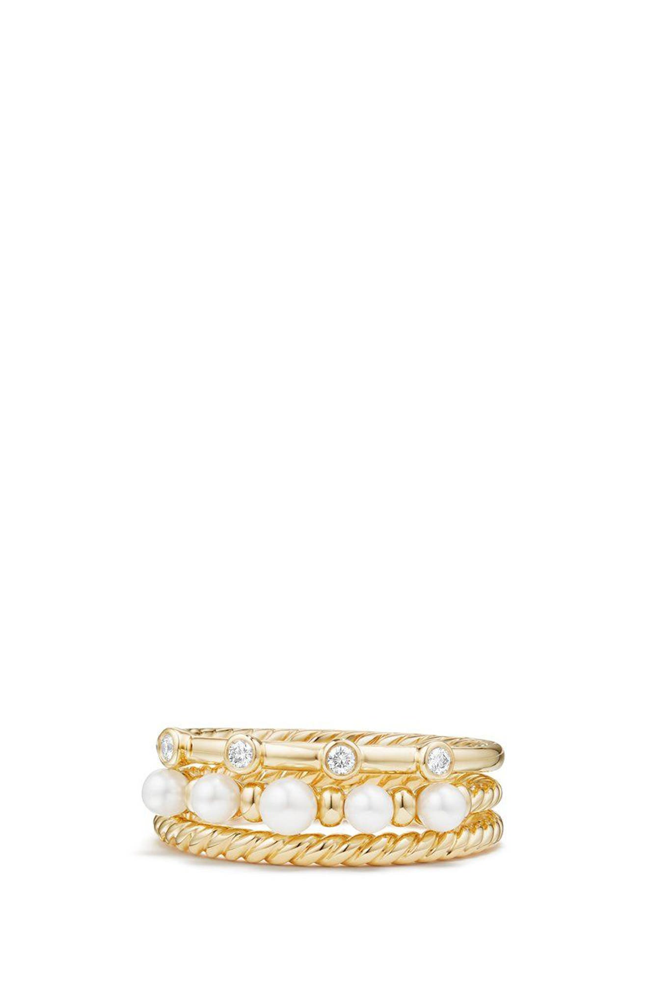 Petite Perle Narrow Multi Row Ring with Pearls and Diamonds,                             Alternate thumbnail 2, color,                             Gold/ Diamond/ Pearl