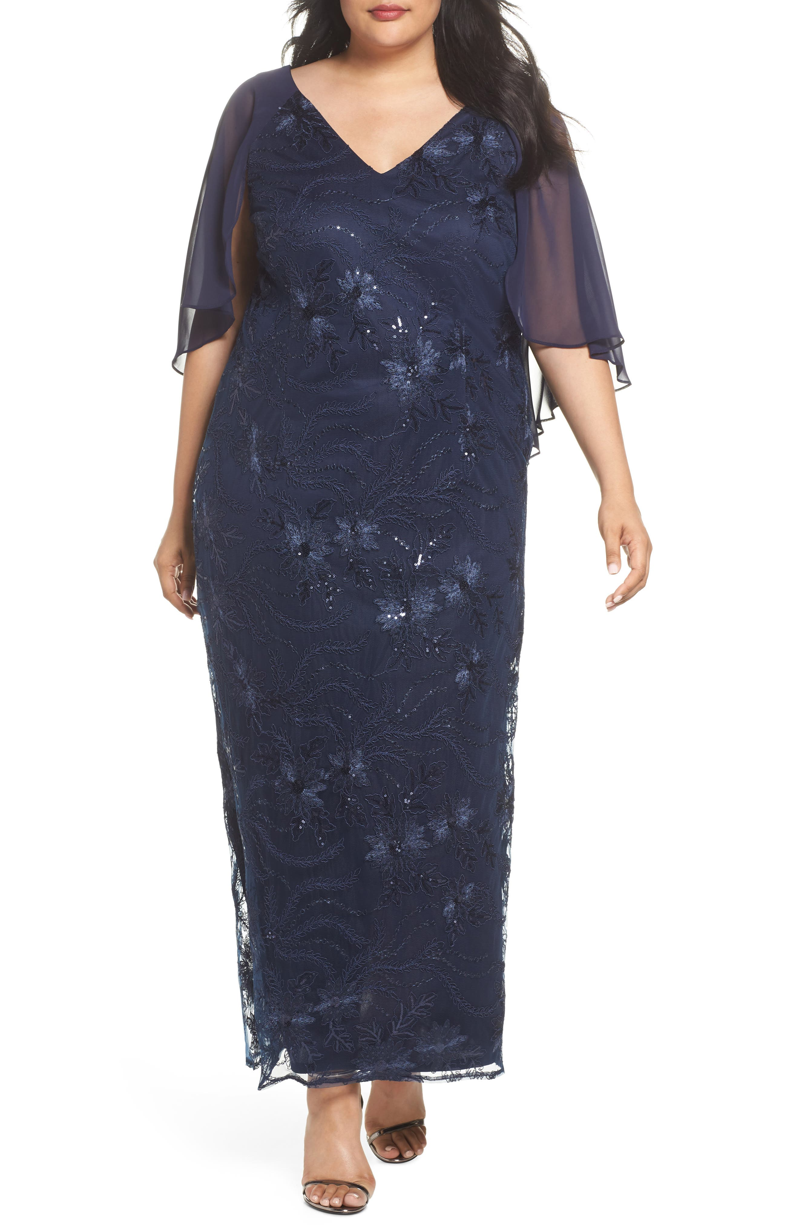 Embellished Capelet Gown,                         Main,                         color, Navy