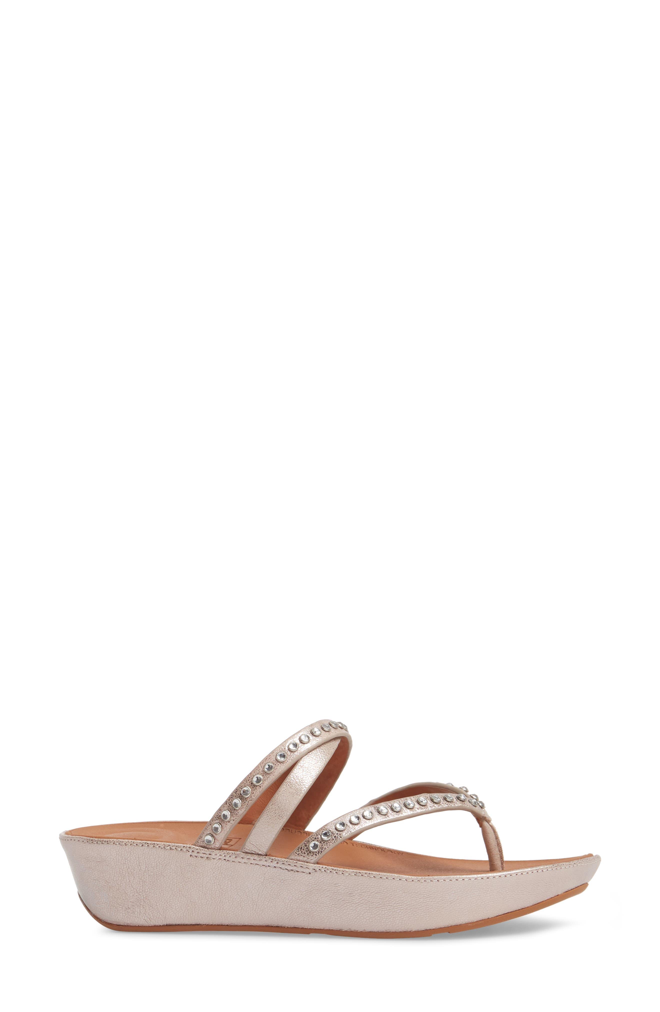 Linny Embellished Slide Sandal,                             Alternate thumbnail 3, color,                             Blush/ Metallic Nude Leather
